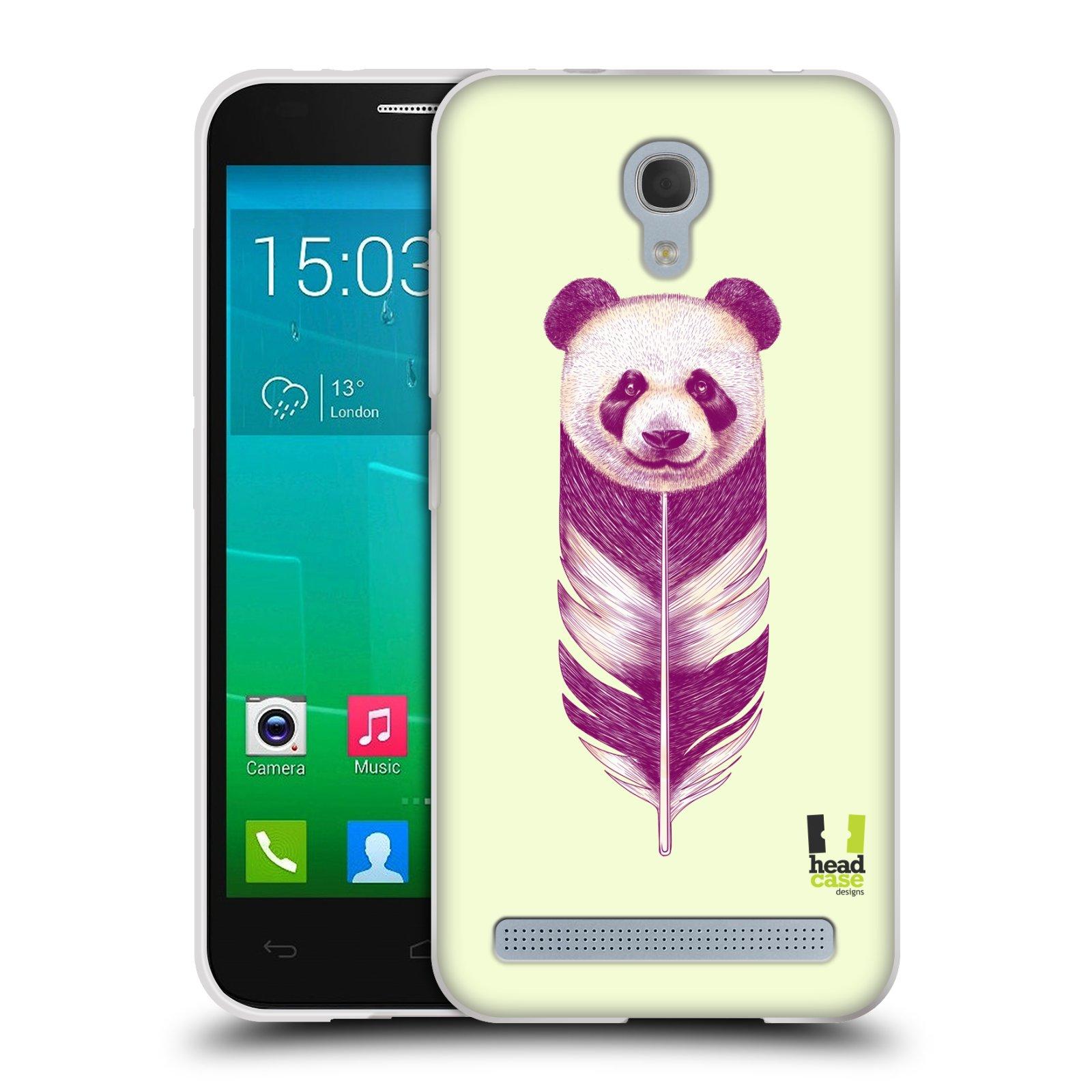 HEAD CASE silikonový obal na mobil Alcatel Idol 2 MINI S 6036Y vzor zvířecí pírka panda