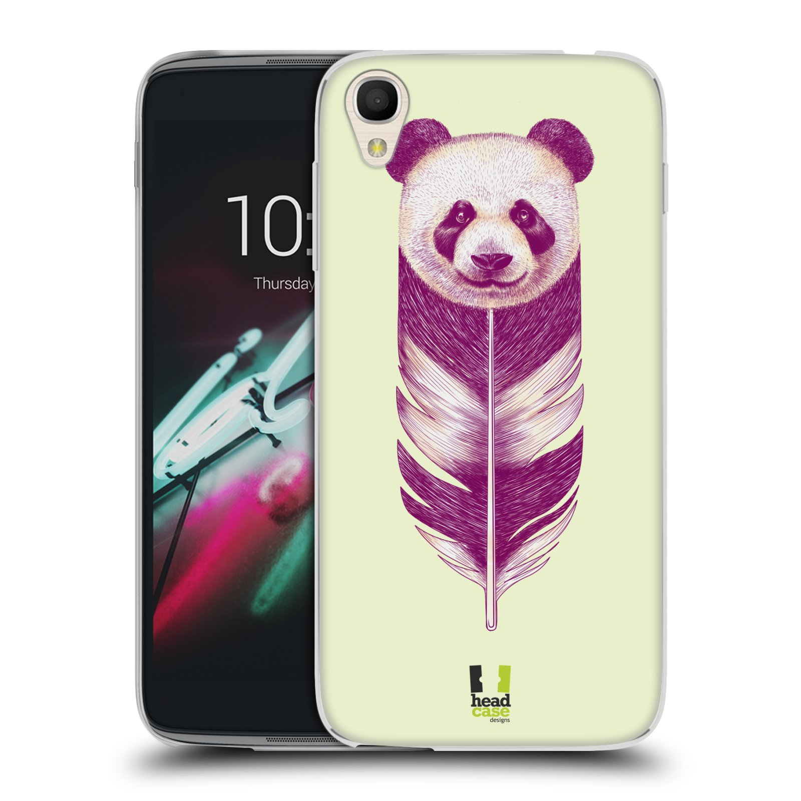 HEAD CASE silikonový obal na mobil Alcatel Idol 3 OT-6039Y (4.7) vzor zvířecí pírka panda