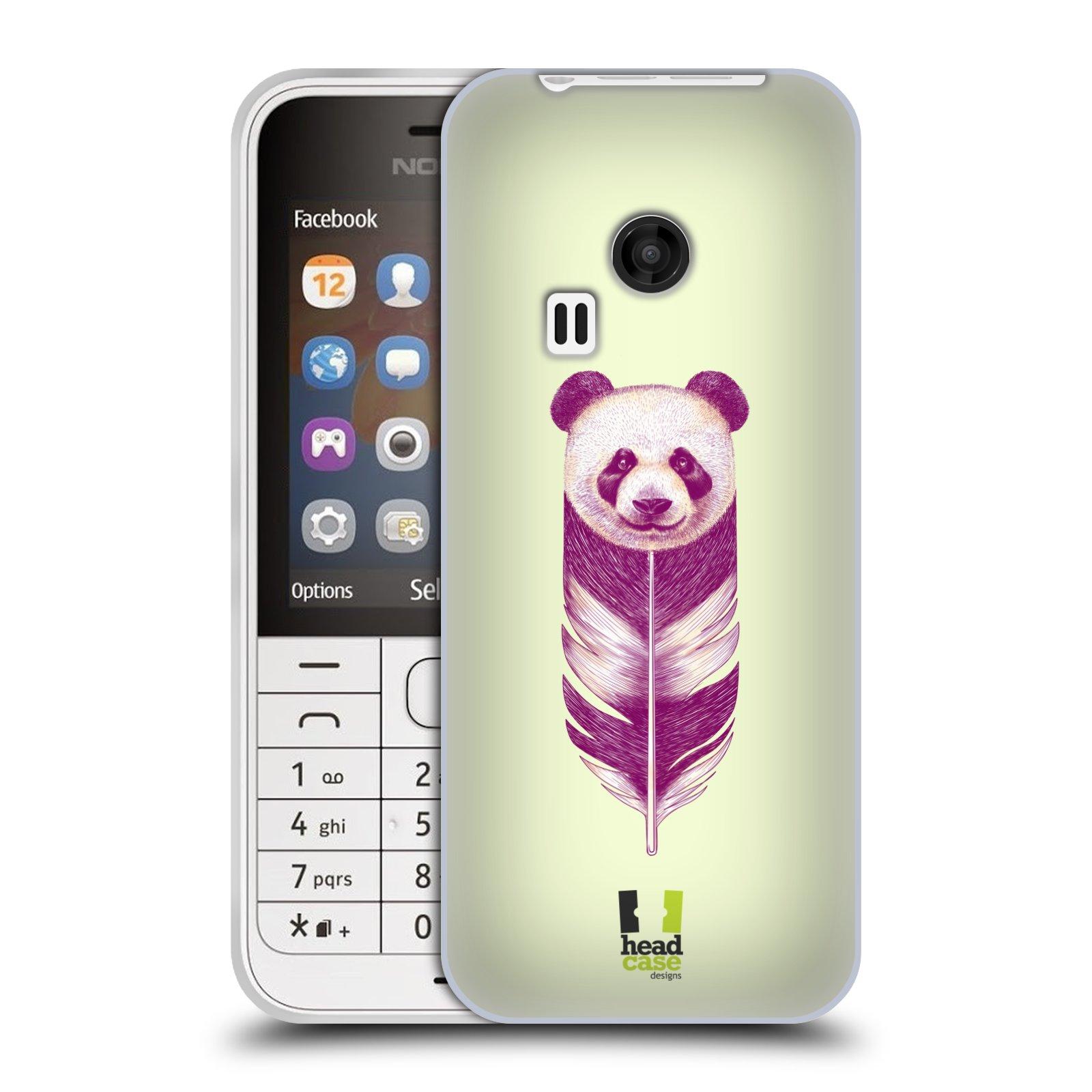 HEAD CASE silikonový obal na mobil NOKIA 220 / NOKIA 220 DUAL SIM vzor zvířecí pírka panda