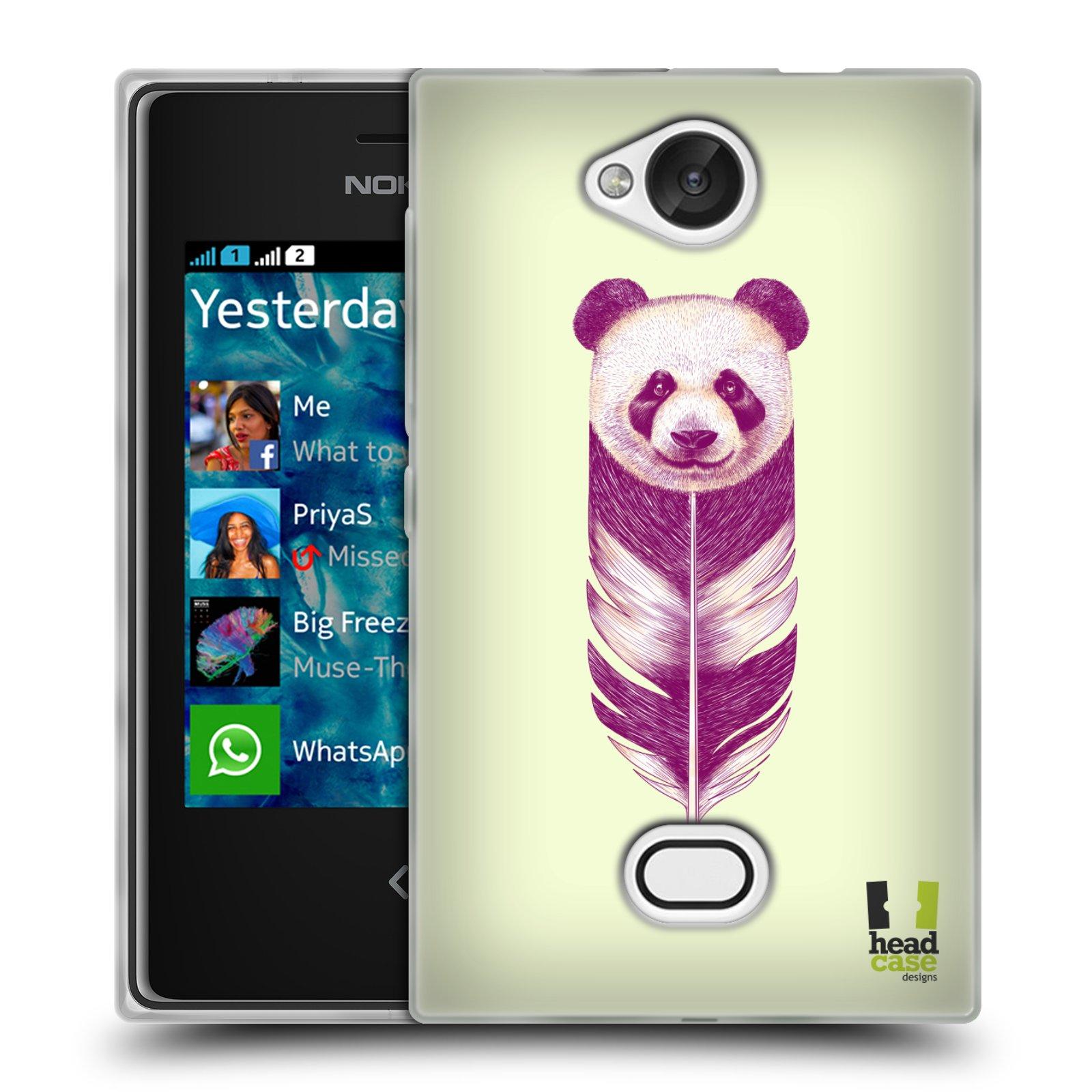 HEAD CASE silikonový obal na mobil NOKIA Asha 503 vzor zvířecí pírka panda