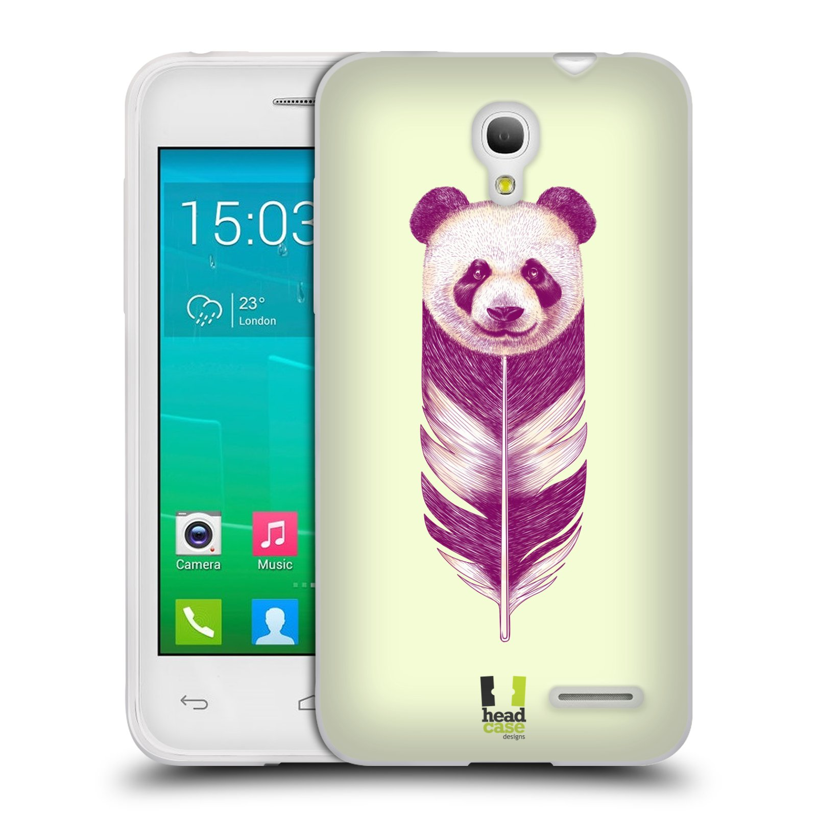HEAD CASE silikonový obal na mobil Alcatel POP S3 OT-5050Y vzor zvířecí pírka panda