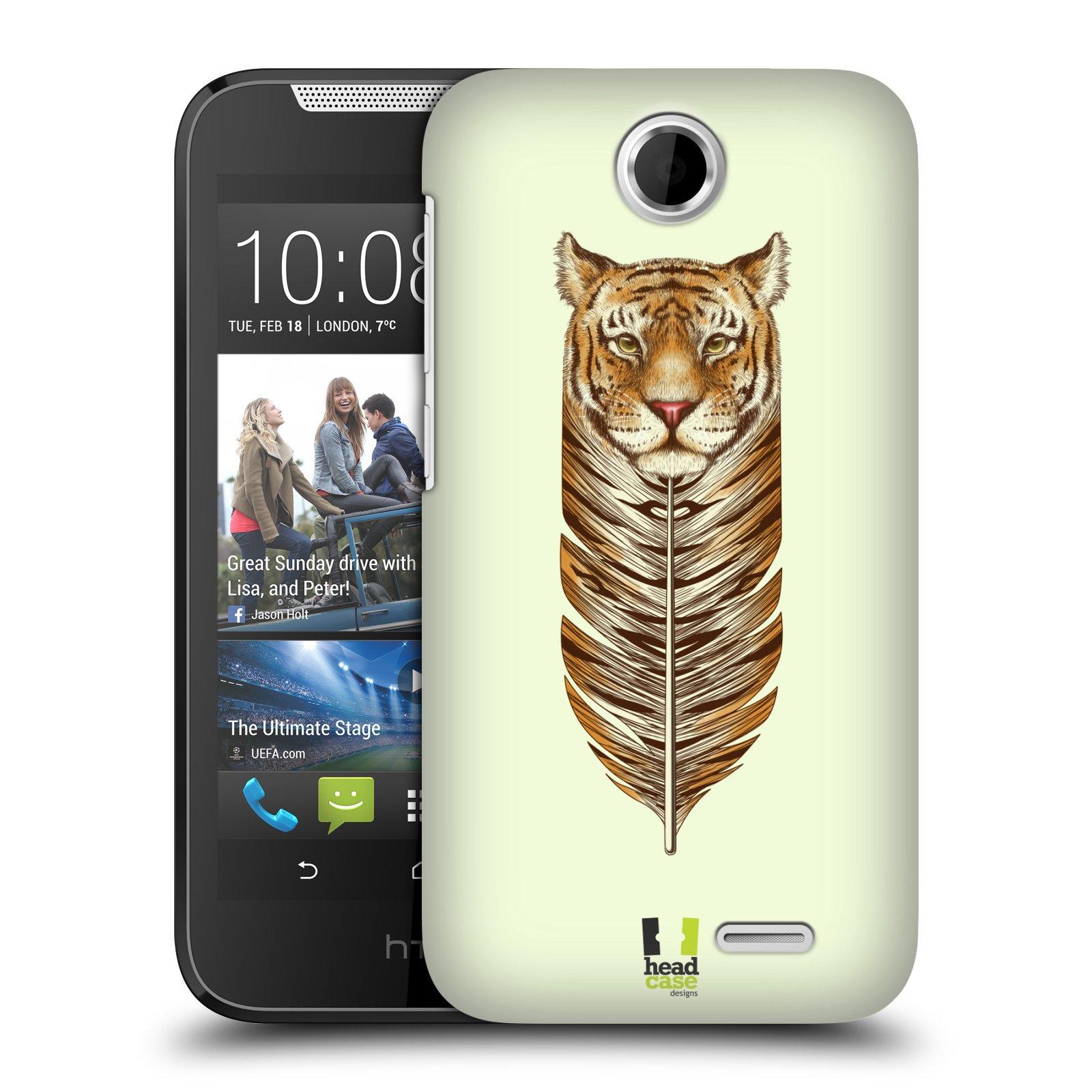 HEAD CASE plastový obal na mobil HTC Desire 310 vzor zvířecí pírka tygr