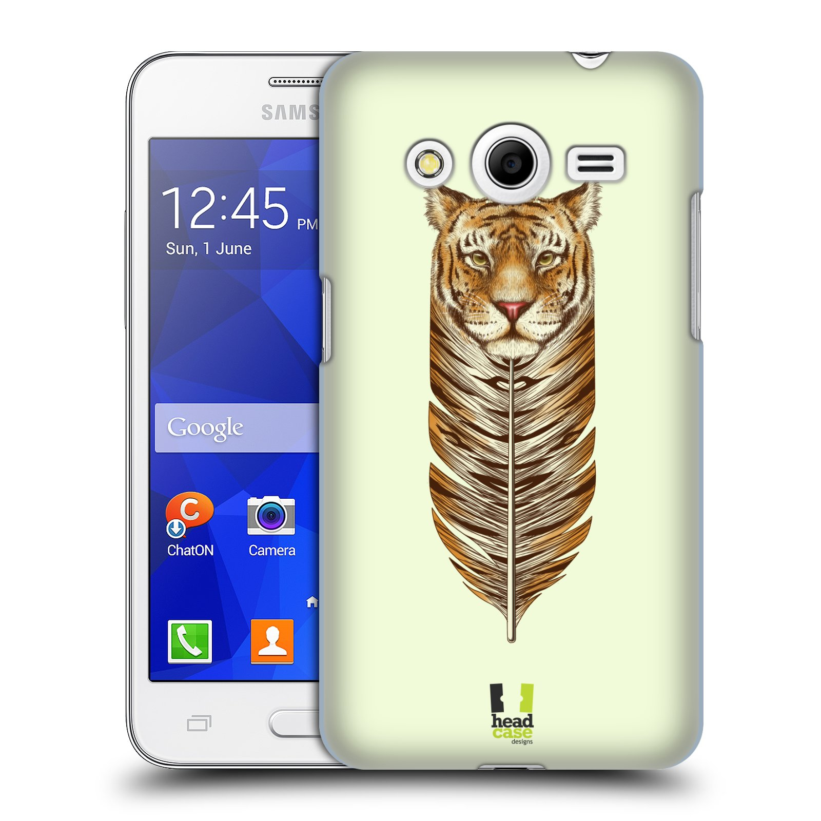 HEAD CASE plastový obal na mobil SAMSUNG GALAXY Core 2 (G355H) vzor zvířecí pírka tygr