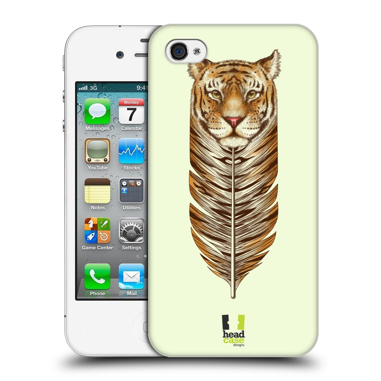 HEAD CASE plastový obal na mobil Apple Iphone 4/4S vzor zvířecí pírka tygr