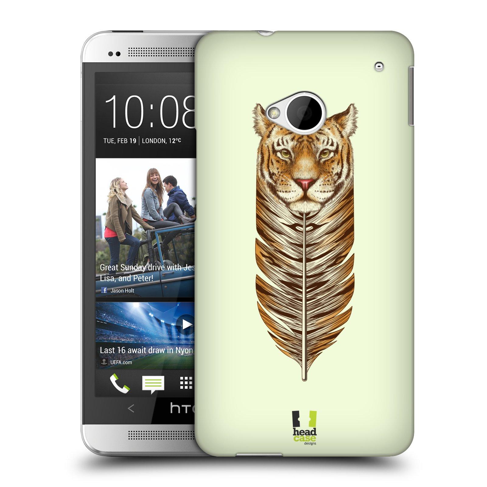 HEAD CASE plastový obal na mobil HTC One (M7) vzor zvířecí pírka tygr