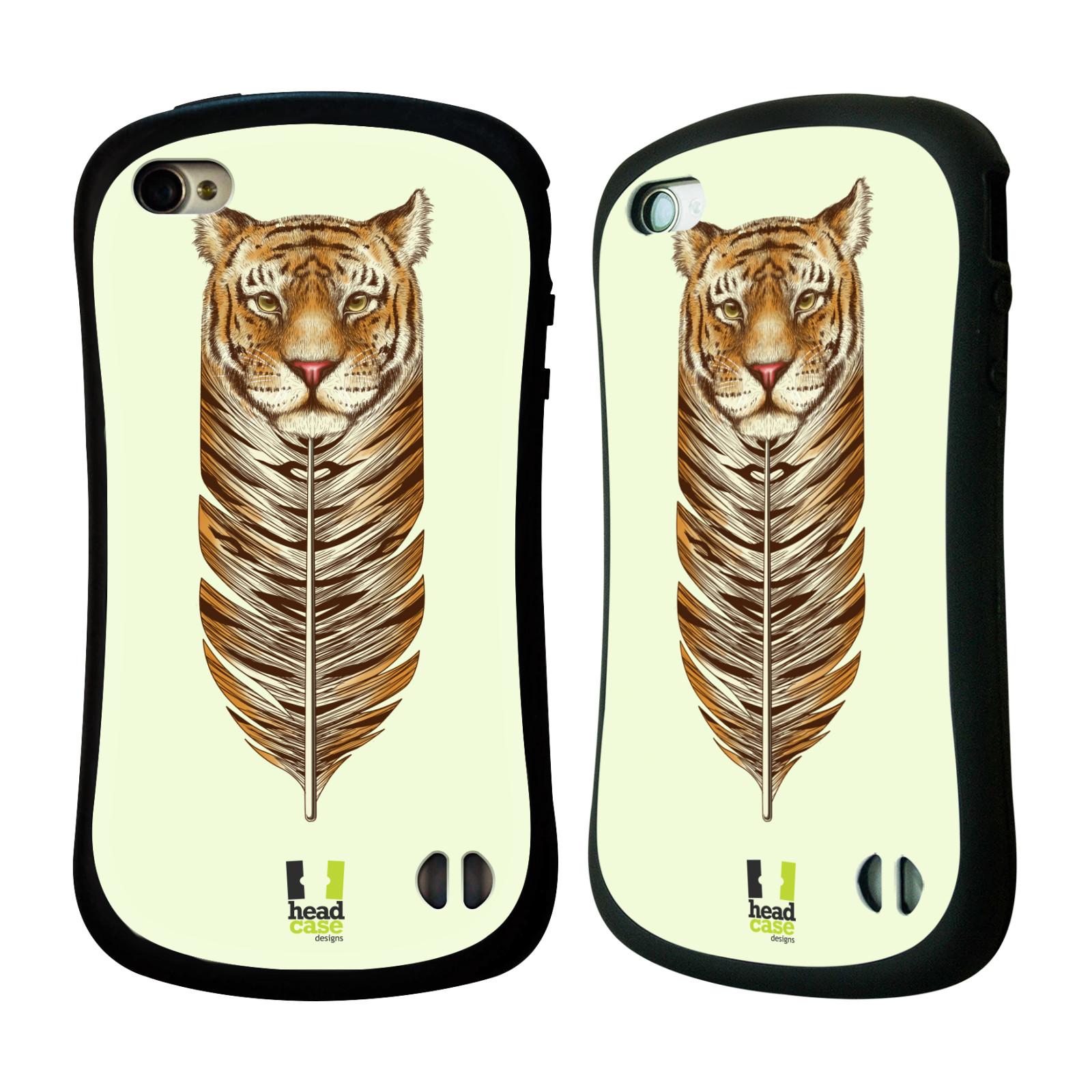 HEAD CASE silikon/plast odolný obal na mobil Apple Iphone 4/4S vzor zvířecí pírka tygr