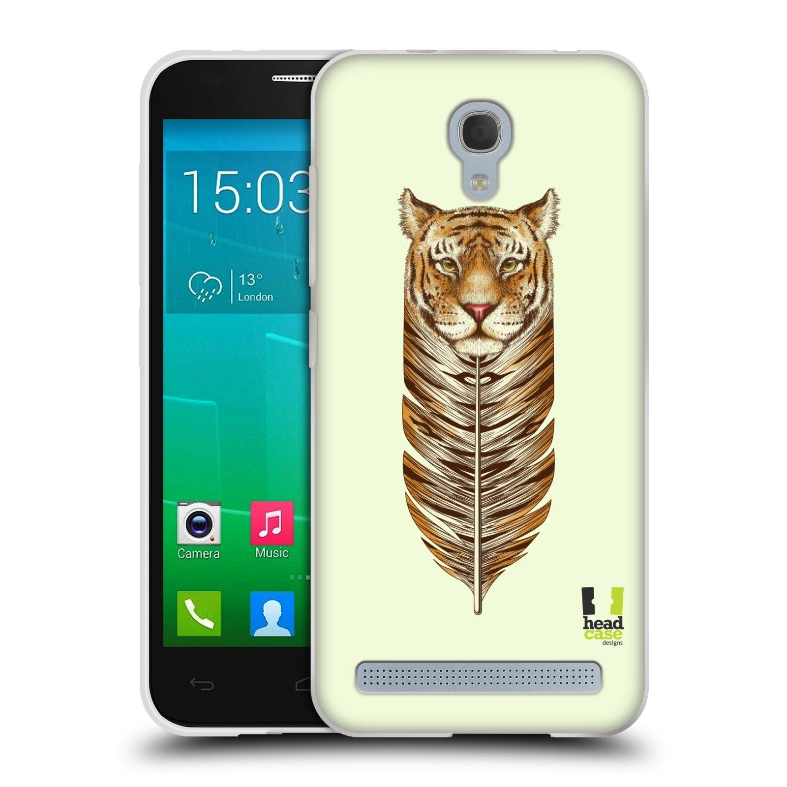 HEAD CASE silikonový obal na mobil Alcatel Idol 2 MINI S 6036Y vzor zvířecí pírka tygr