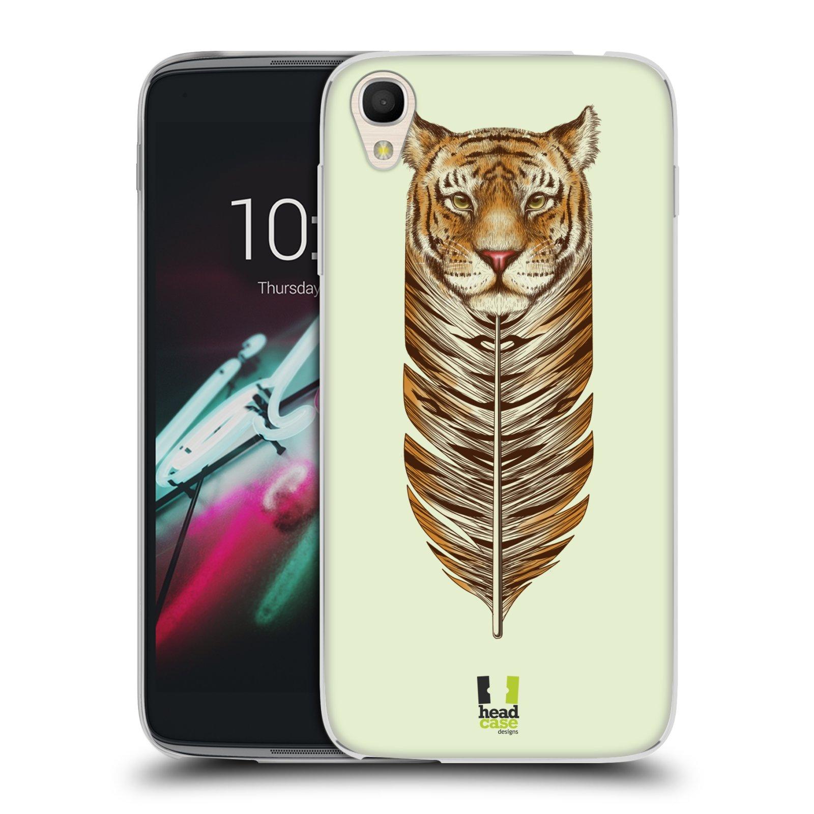 HEAD CASE silikonový obal na mobil Alcatel Idol 3 OT-6039Y (4.7) vzor zvířecí pírka tygr