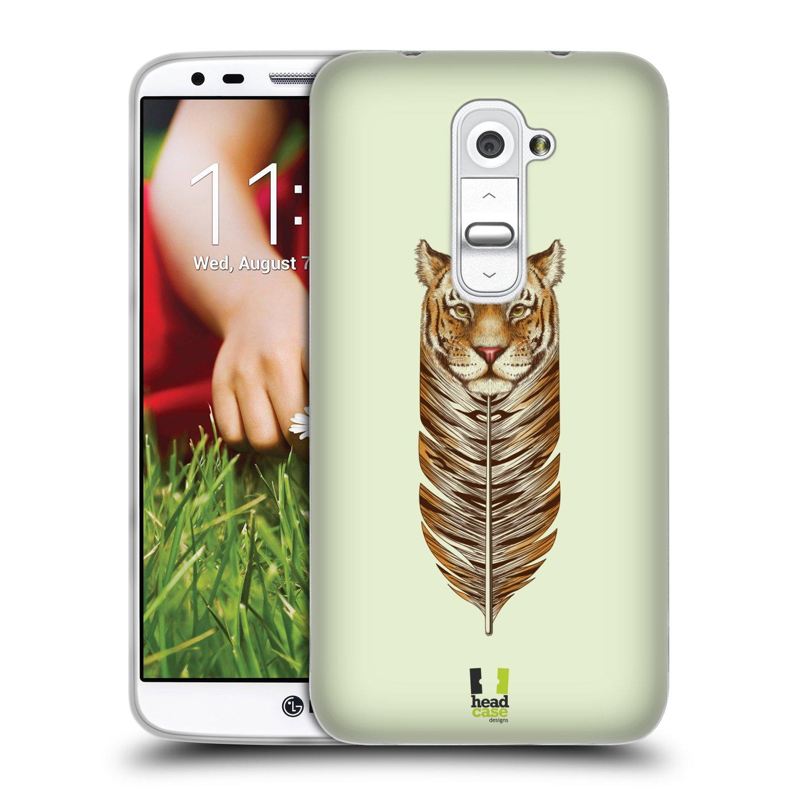 HEAD CASE silikonový obal na mobil LG G2 vzor zvířecí pírka tygr