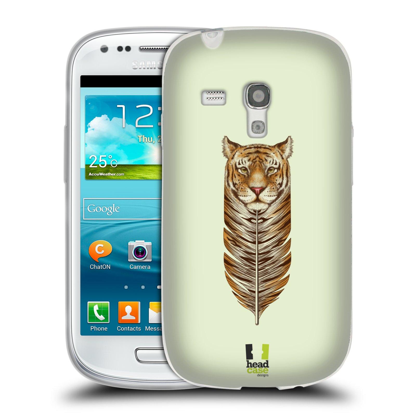 HEAD CASE silikonový obal na mobil Samsung Galaxy S3 MINI i8190 vzor zvířecí pírka tygr