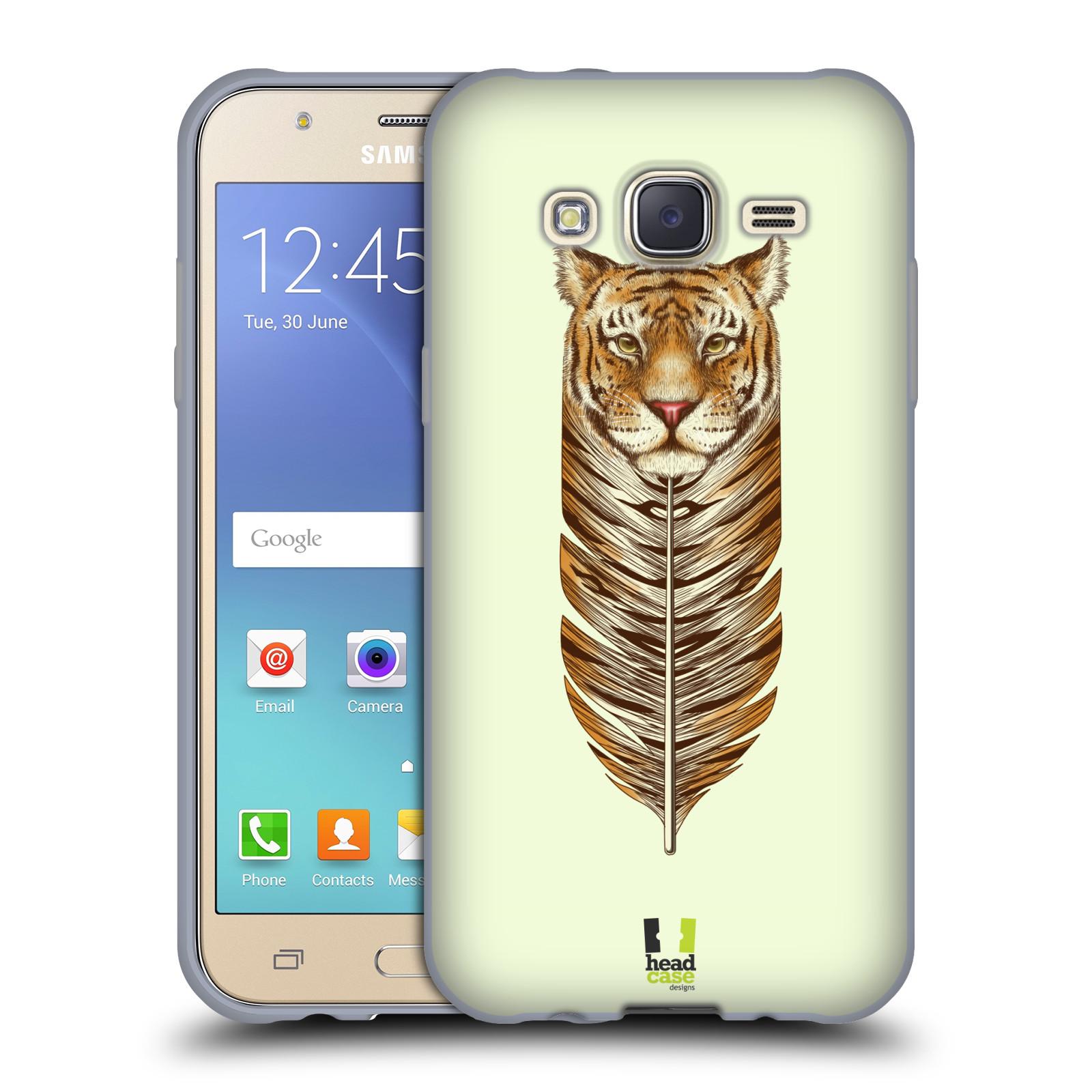 HEAD CASE silikonový obal na mobil Samsung Galaxy J5, J500, (J5 DUOS) vzor zvířecí pírka tygr