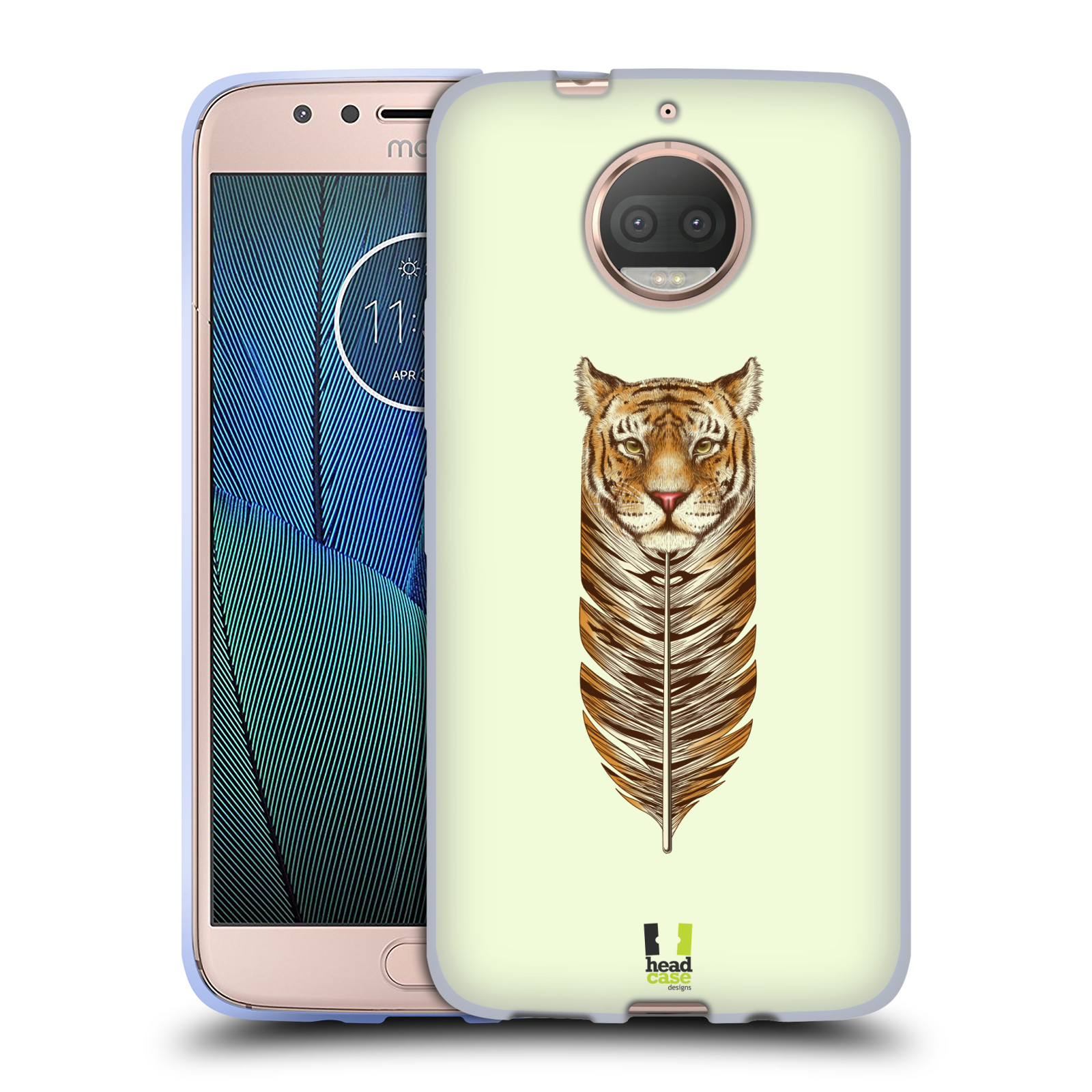 HEAD CASE silikonový obal na mobil Lenovo Moto G5s PLUS vzor zvířecí pírka tygr