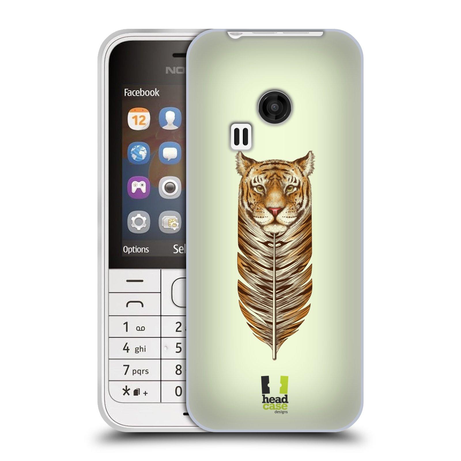 HEAD CASE silikonový obal na mobil NOKIA 220 / NOKIA 220 DUAL SIM vzor zvířecí pírka tygr