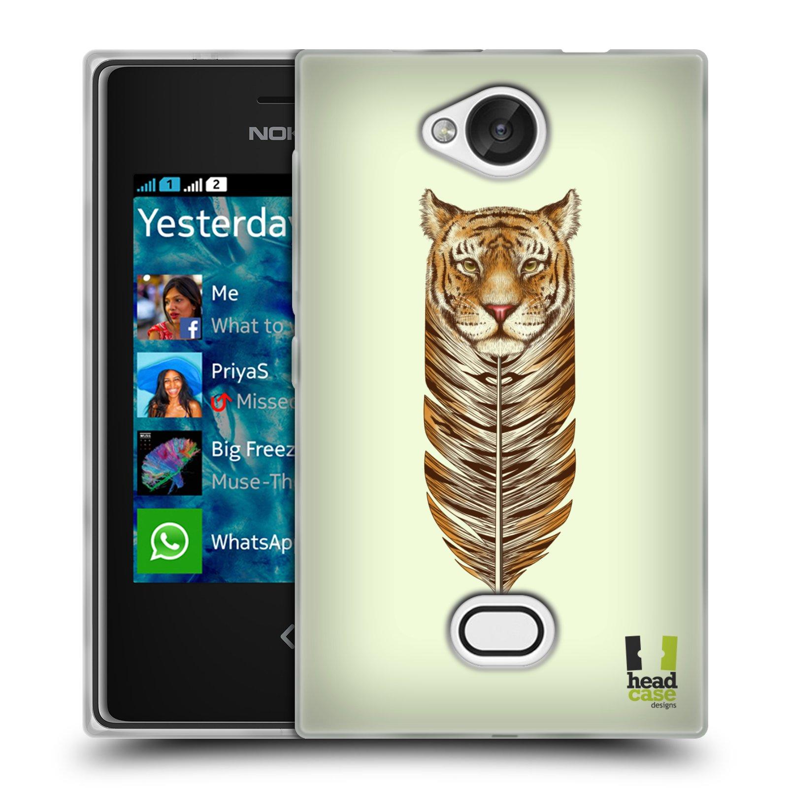 HEAD CASE silikonový obal na mobil NOKIA Asha 503 vzor zvířecí pírka tygr