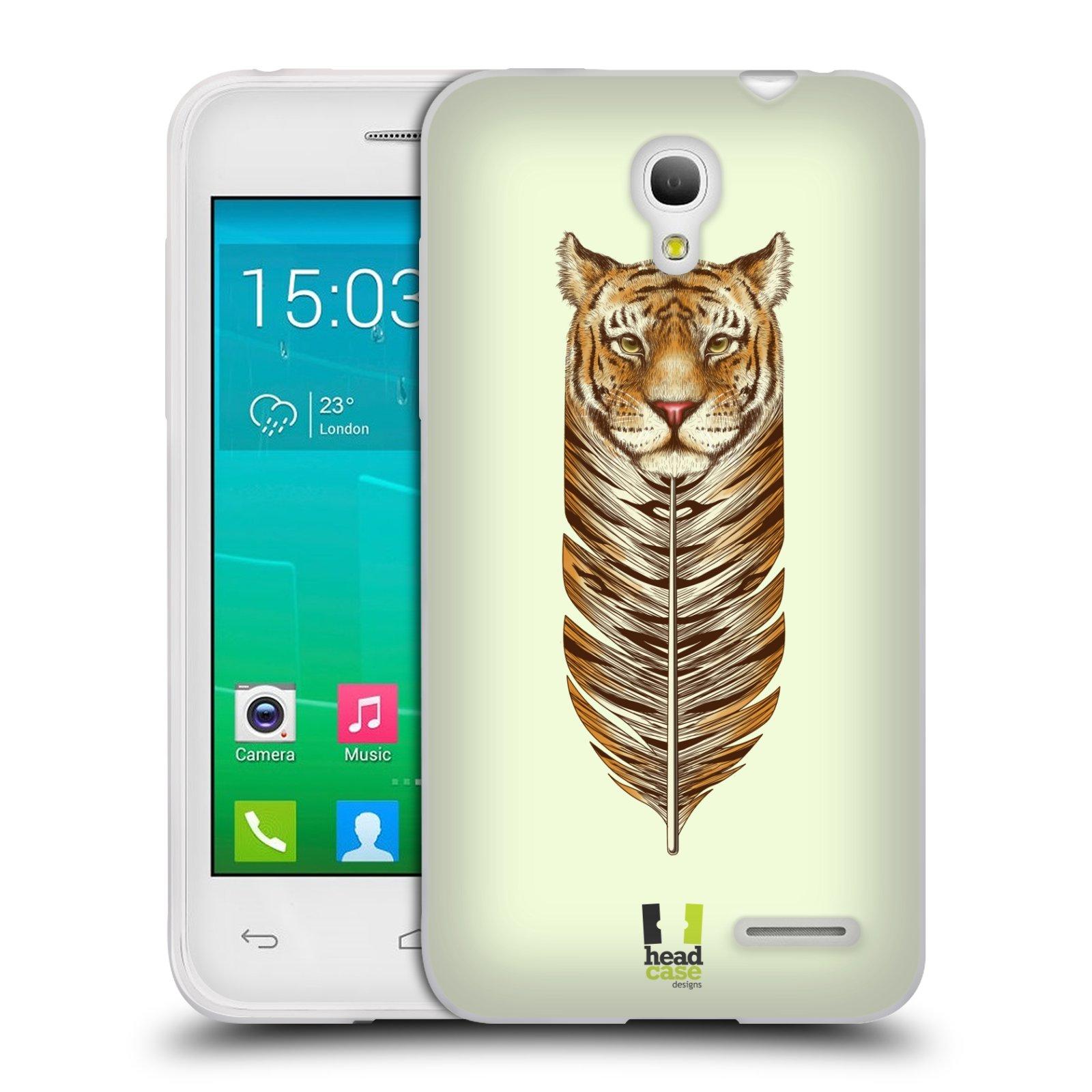 HEAD CASE silikonový obal na mobil Alcatel POP S3 OT-5050Y vzor zvířecí pírka tygr