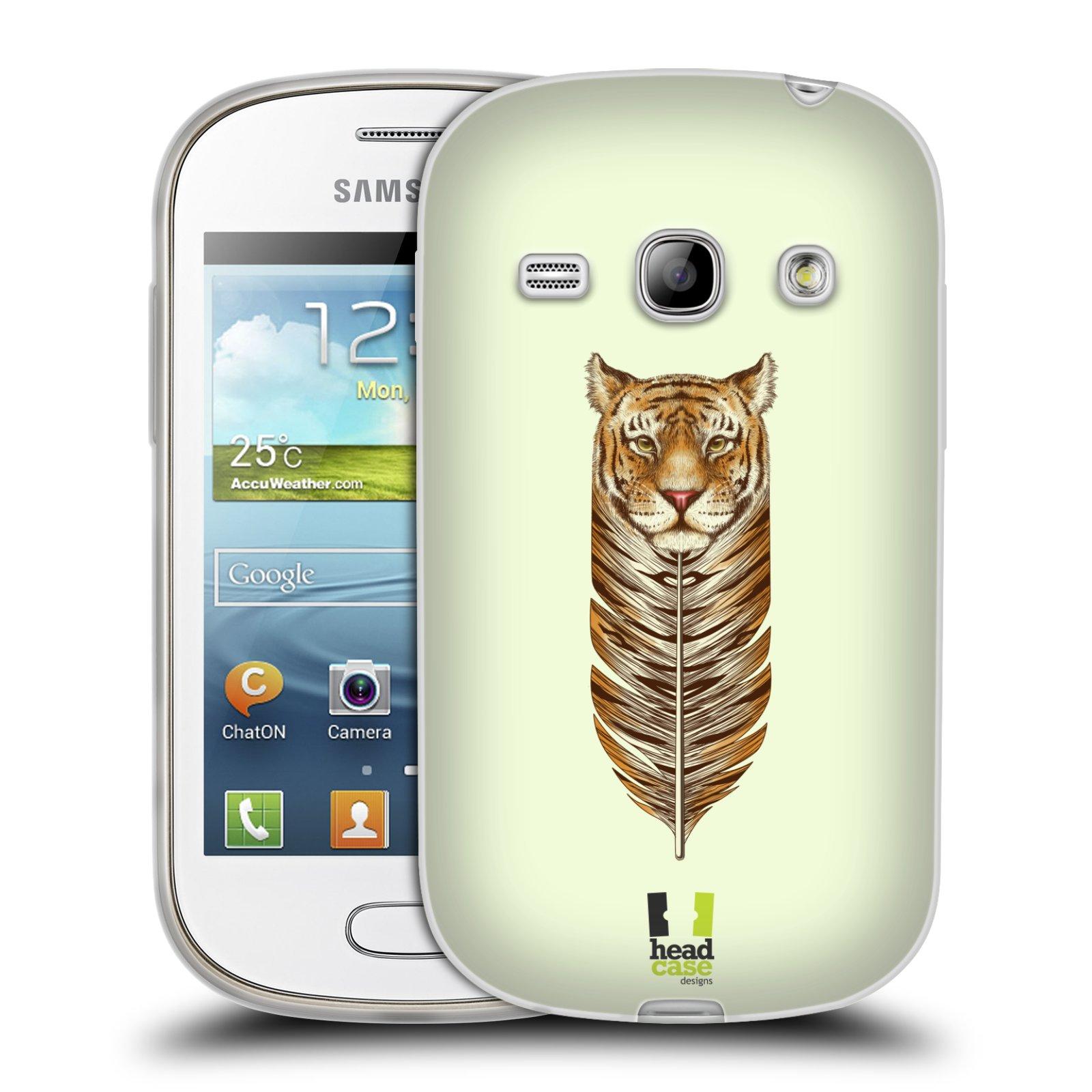 HEAD CASE silikonový obal na mobil Samsung Galaxy FAME vzor zvířecí pírka tygr