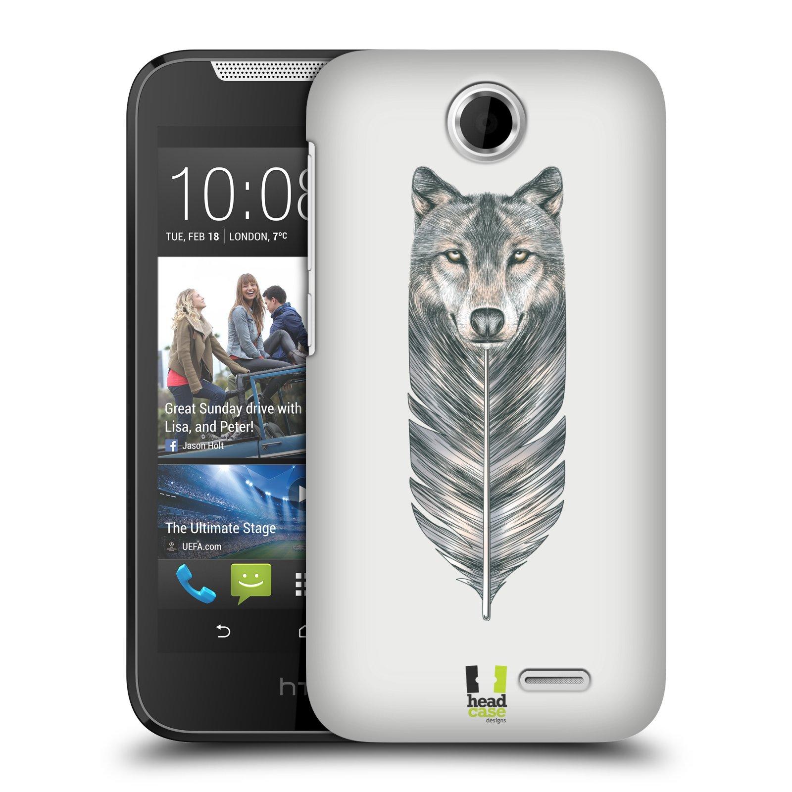 HEAD CASE plastový obal na mobil HTC Desire 310 vzor zvířecí pírka vlk