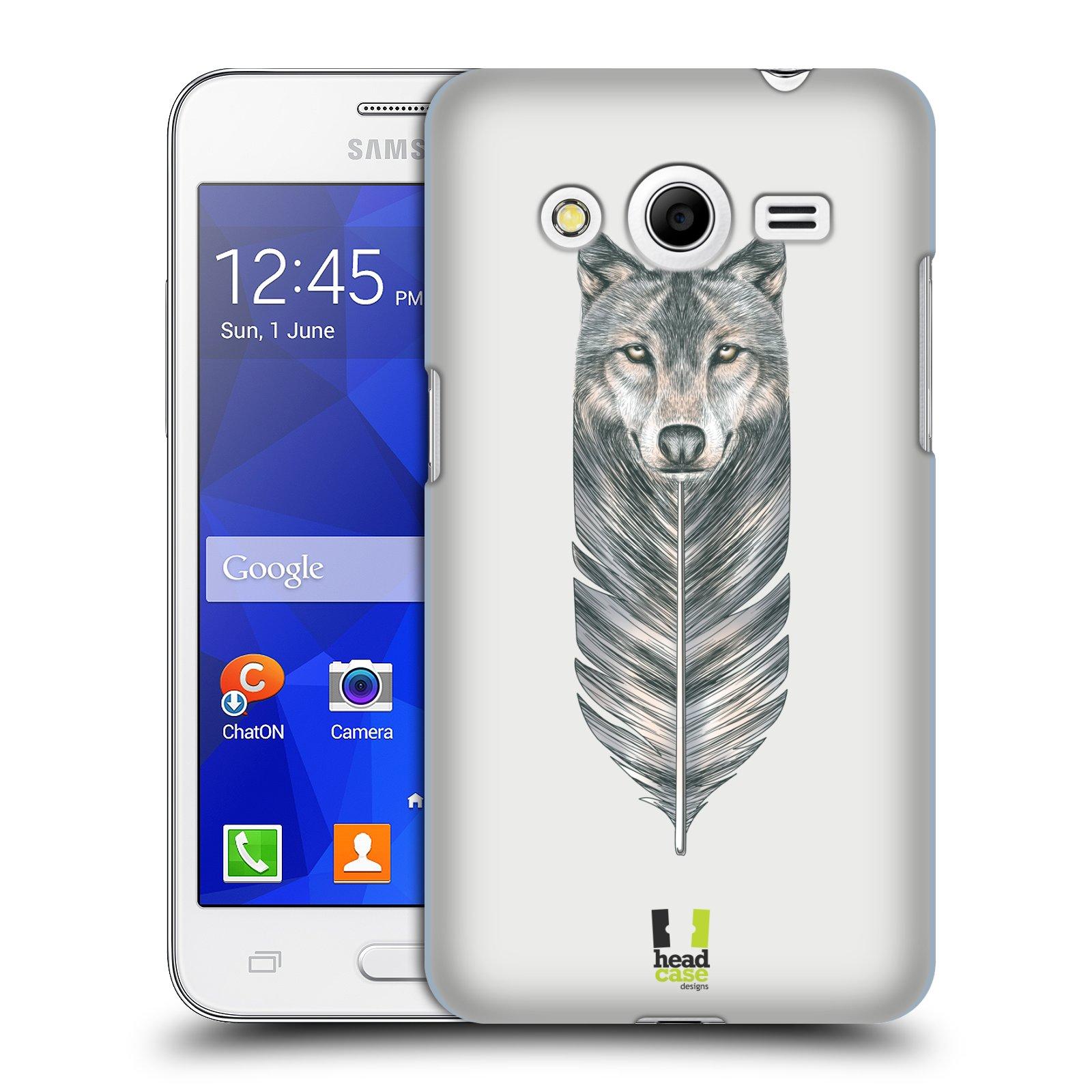 HEAD CASE plastový obal na mobil SAMSUNG GALAXY Core 2 (G355H) vzor zvířecí pírka vlk
