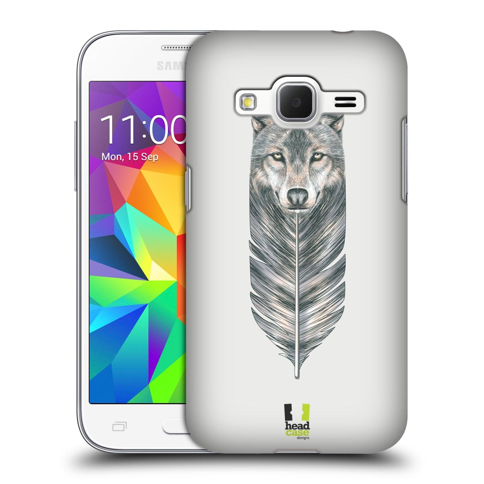 HEAD CASE plastový obal na mobil SAMSUNG GALAXY Core Prime (Core Prime VE) vzor zvířecí pírka vlk