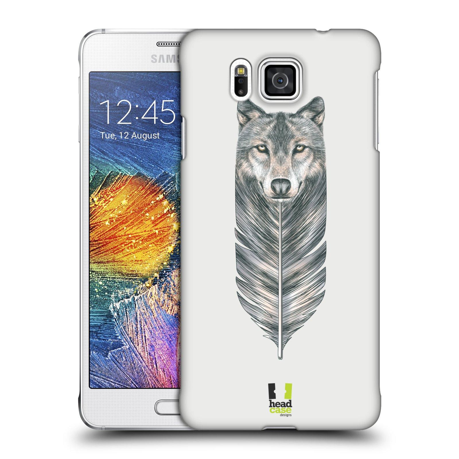 HEAD CASE plastový obal na mobil SAMSUNG Galaxy Alpha (G850) vzor zvířecí pírka vlk
