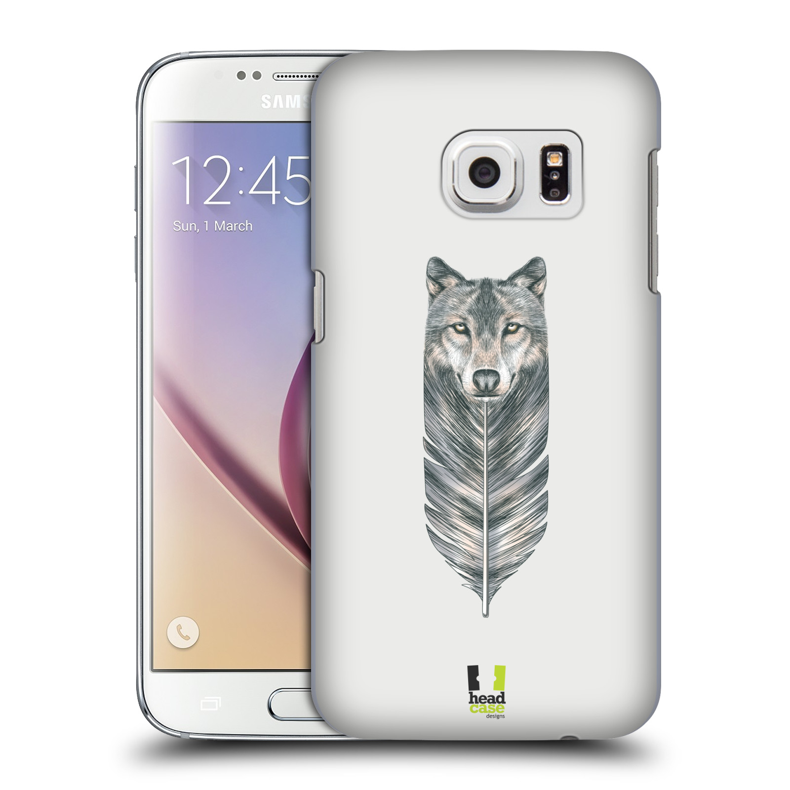 HEAD CASE plastový obal na mobil SAMSUNG GALAXY S7 vzor zvířecí pírka vlk