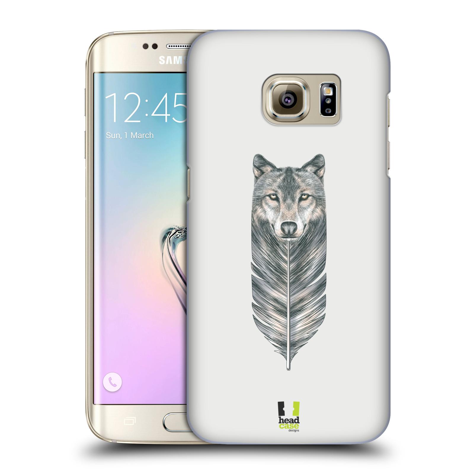 HEAD CASE plastový obal na mobil SAMSUNG GALAXY S7 EDGE vzor zvířecí pírka vlk