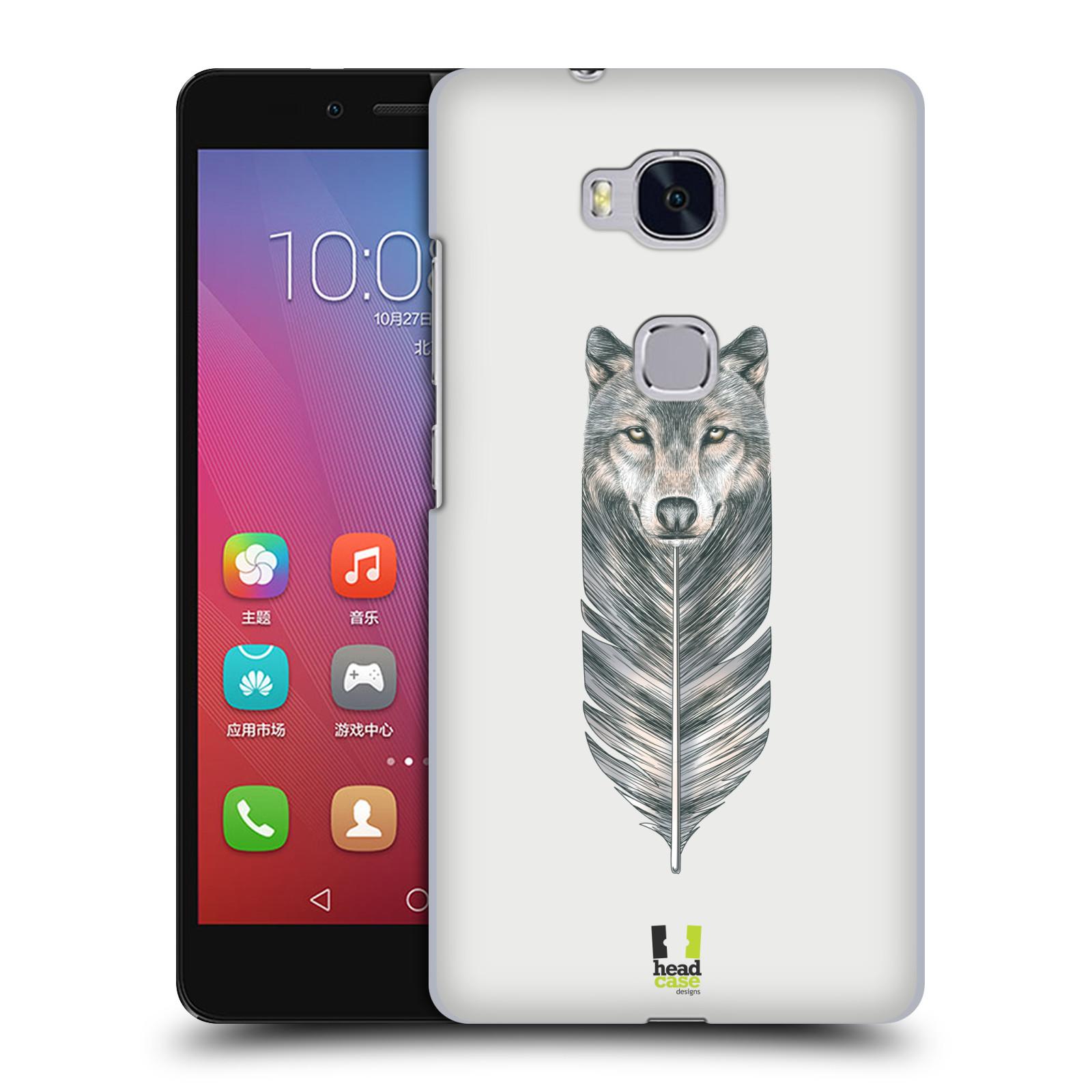 HEAD CASE pevný plastový obal na mobil HUAWEI HONOR 5X vzor zvířecí pírka vlk