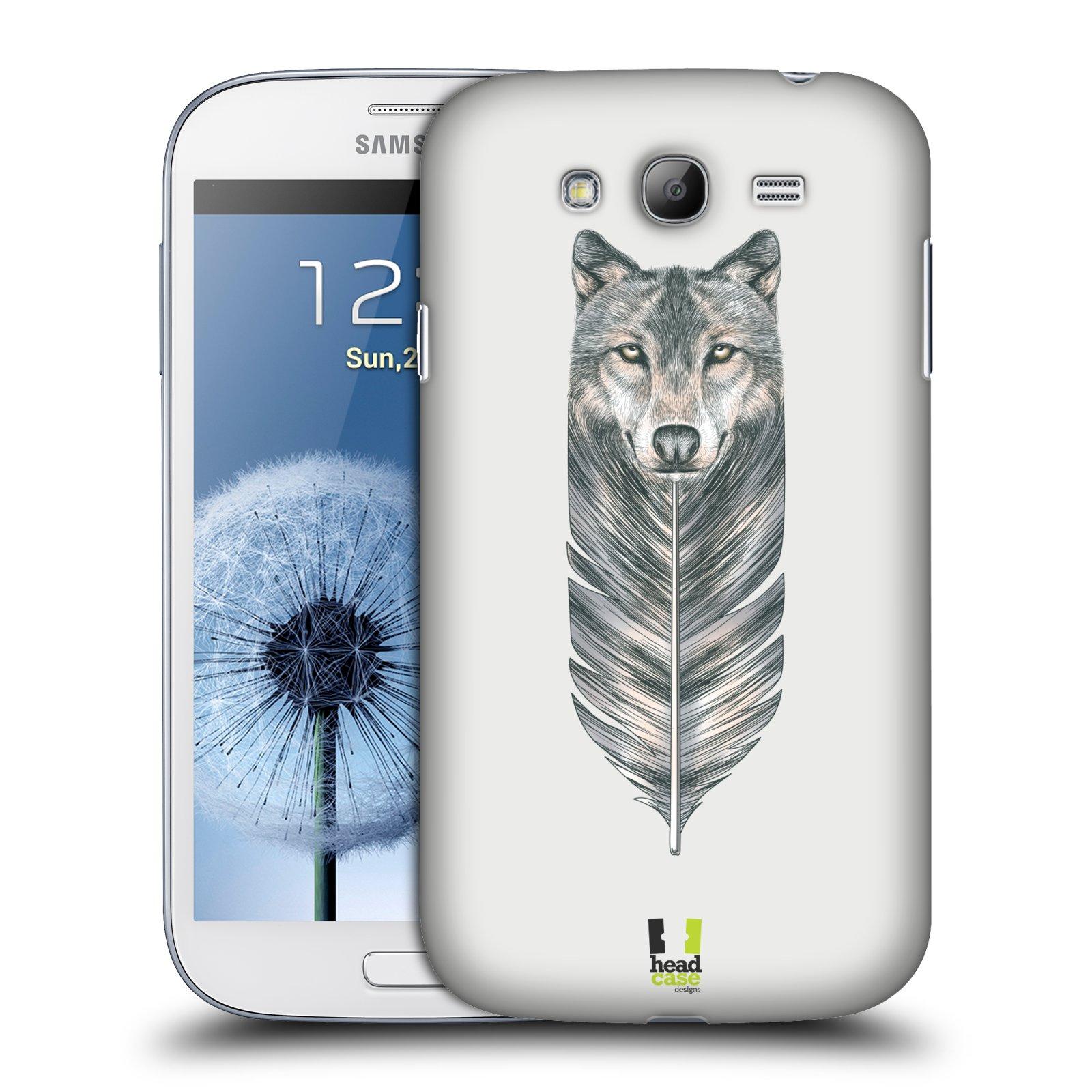 HEAD CASE plastový obal na mobil SAMSUNG GALAXY Grand i9080 vzor zvířecí pírka vlk