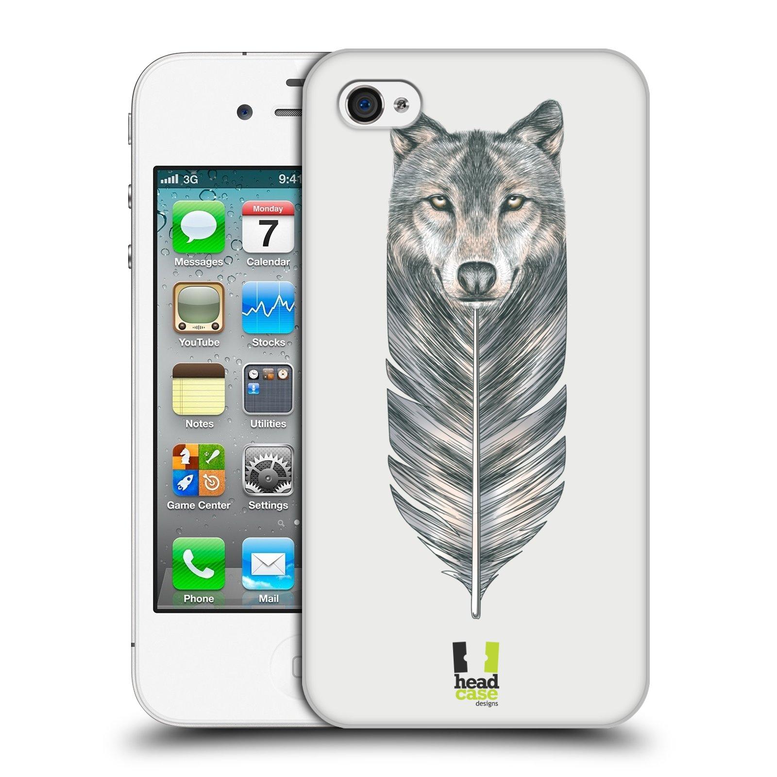 HEAD CASE plastový obal na mobil Apple Iphone 4/4S vzor zvířecí pírka vlk