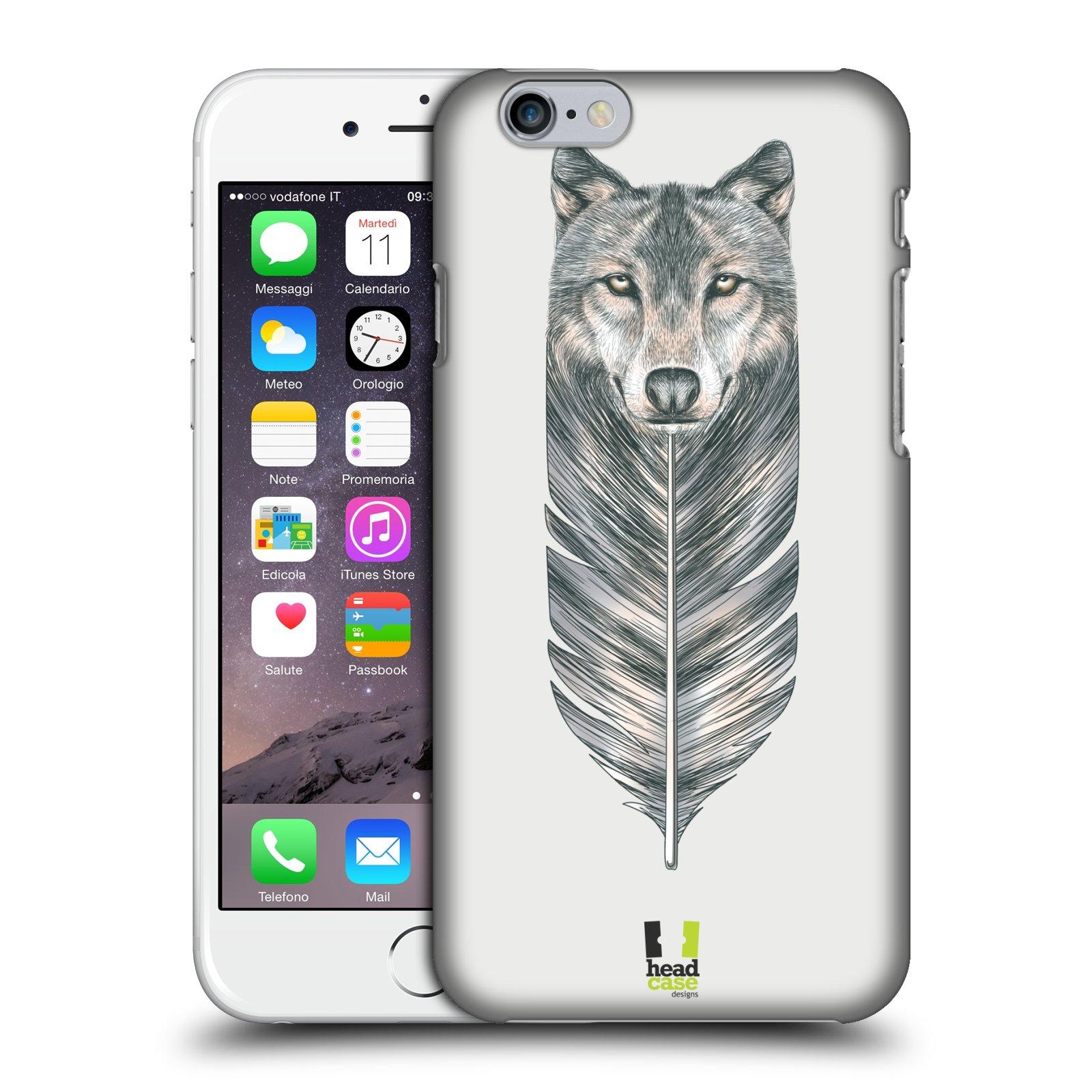 Plastové pouzdro pro mobil Apple Iphone 6/6S vzor zvířecí pírka vlk