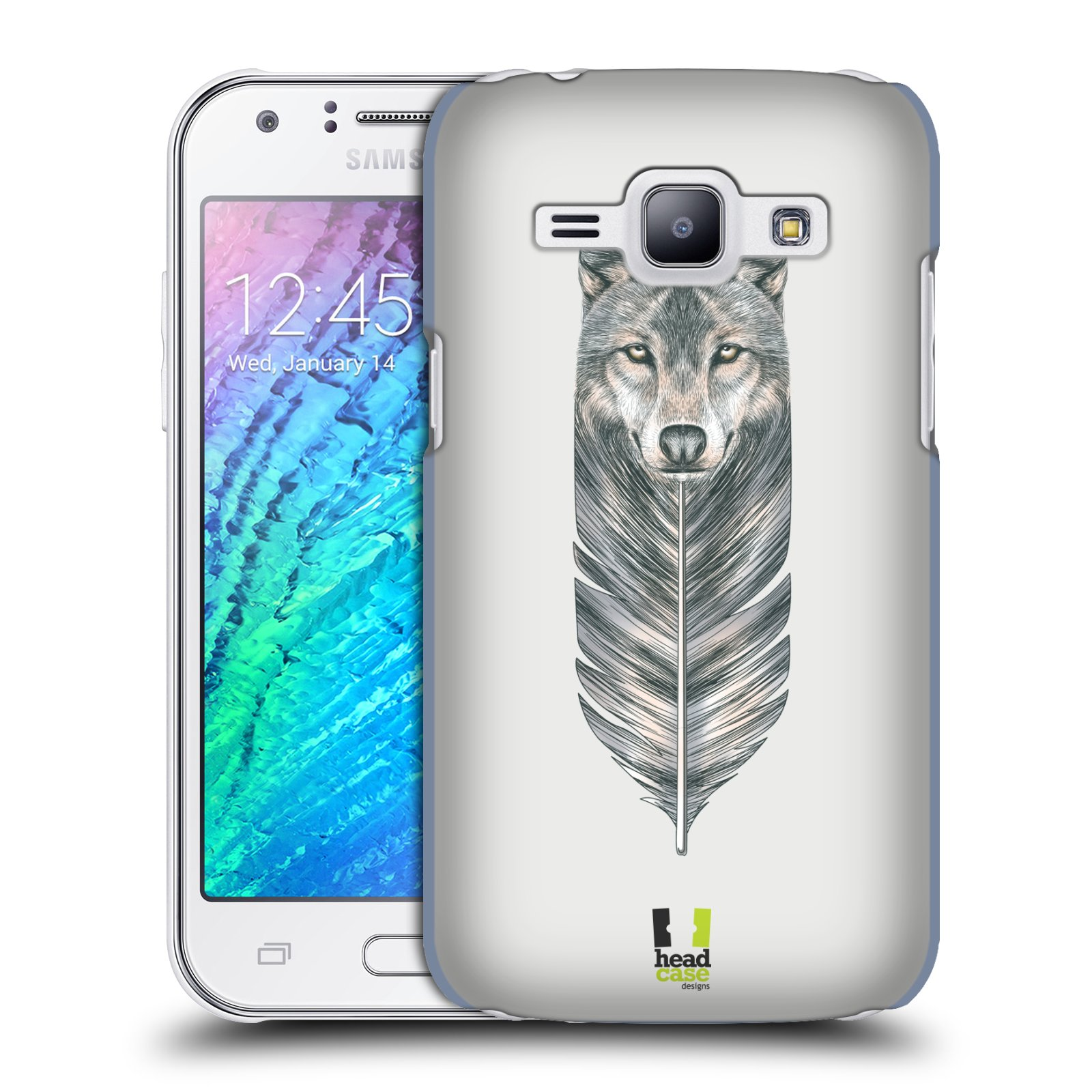 HEAD CASE plastový obal na mobil SAMSUNG Galaxy J1, J100 vzor zvířecí pírka vlk