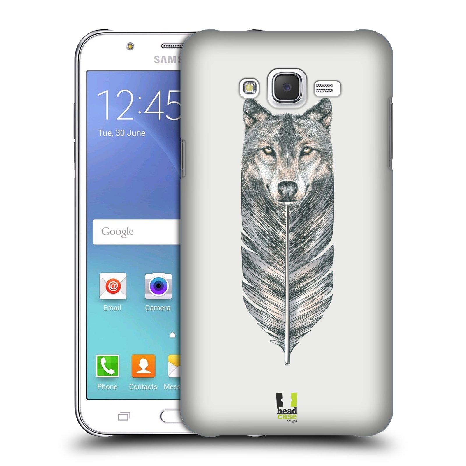 HEAD CASE plastový obal na mobil SAMSUNG Galaxy J7, J700 vzor zvířecí pírka vlk
