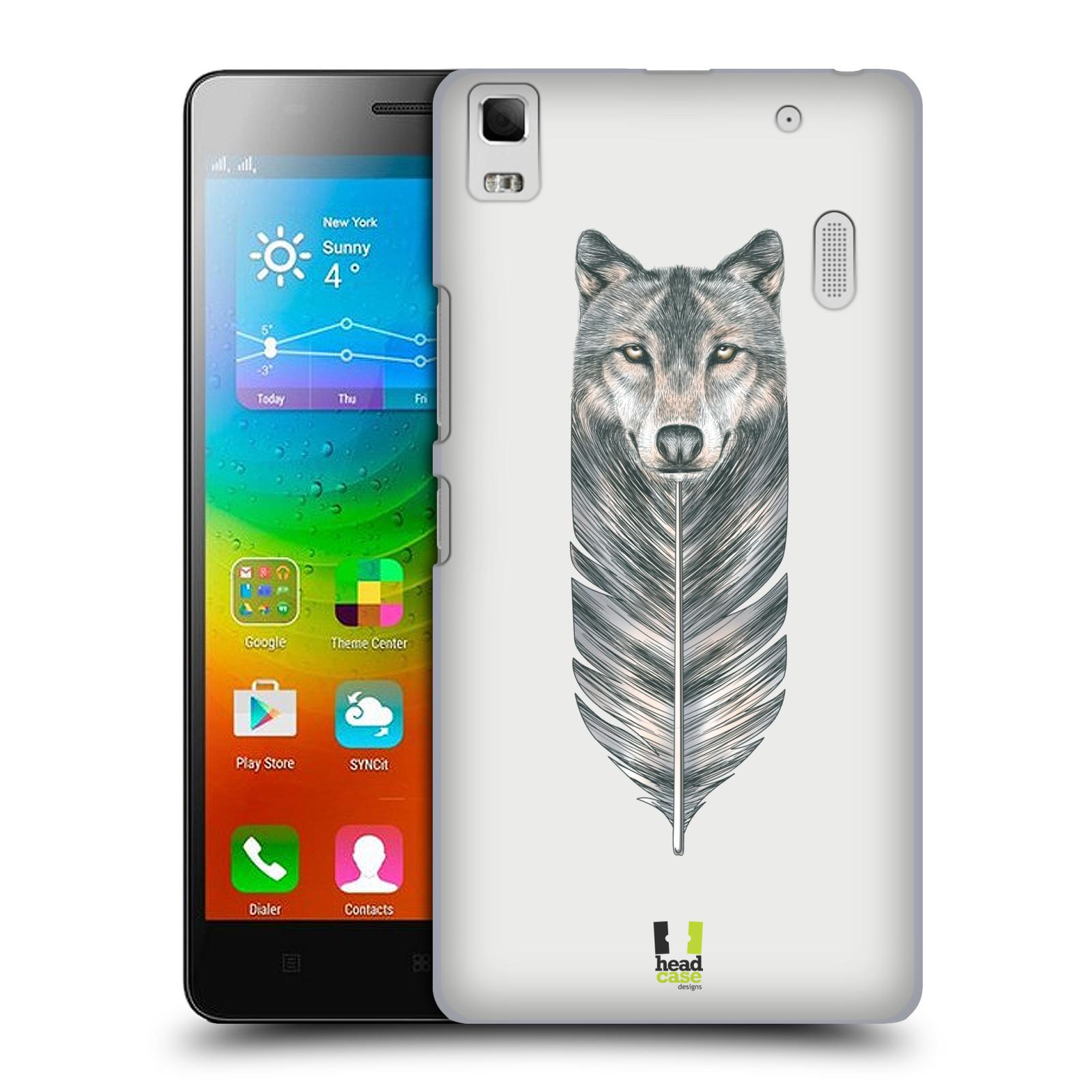 HEAD CASE pevný plastový obal na mobil LENOVO A7000 / A7000 DUAL / K3 NOTE vzor zvířecí pírka vlk