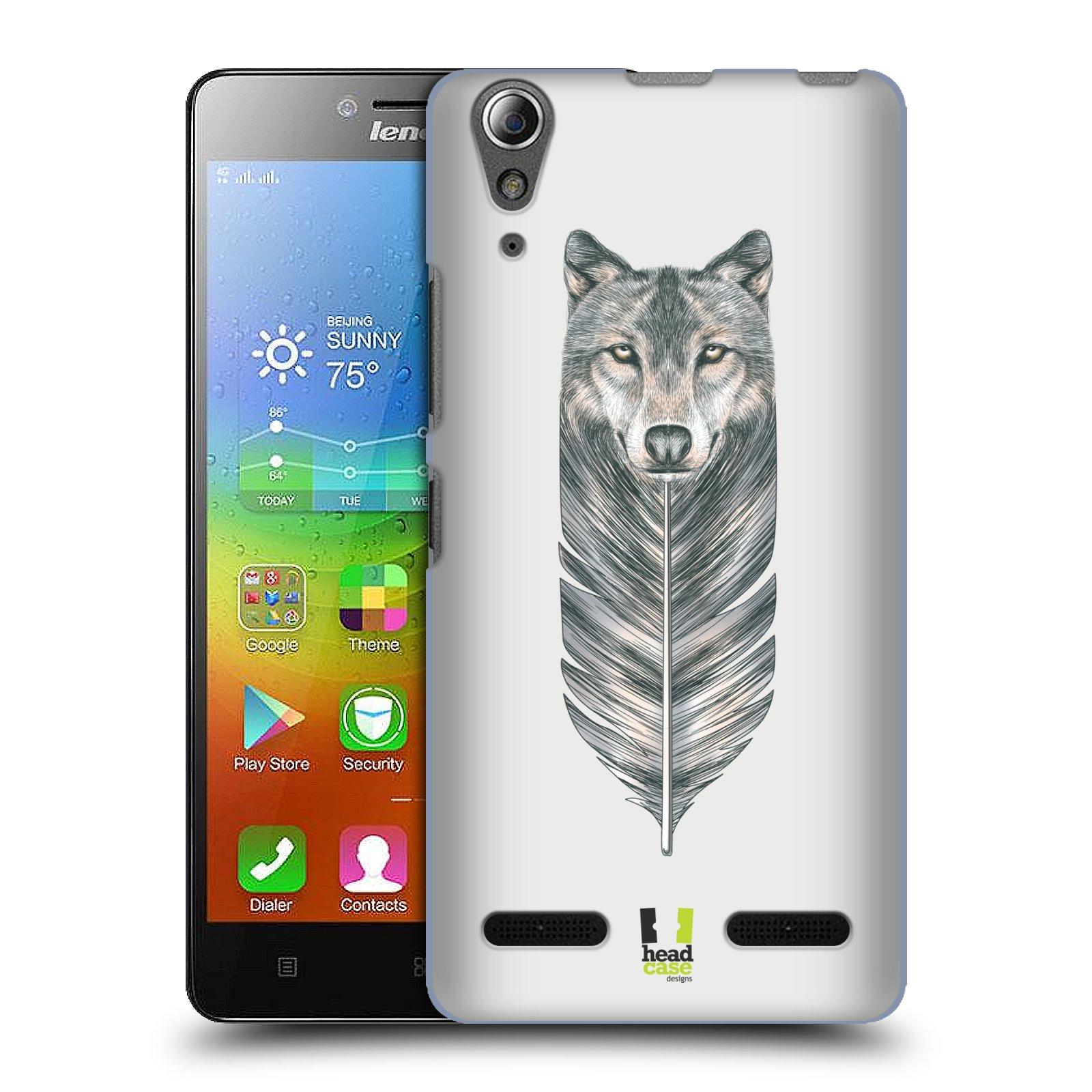 HEAD CASE pevný plastový obal na mobil LENOVO A6000 / A6000 PLUS vzor zvířecí pírka vlk