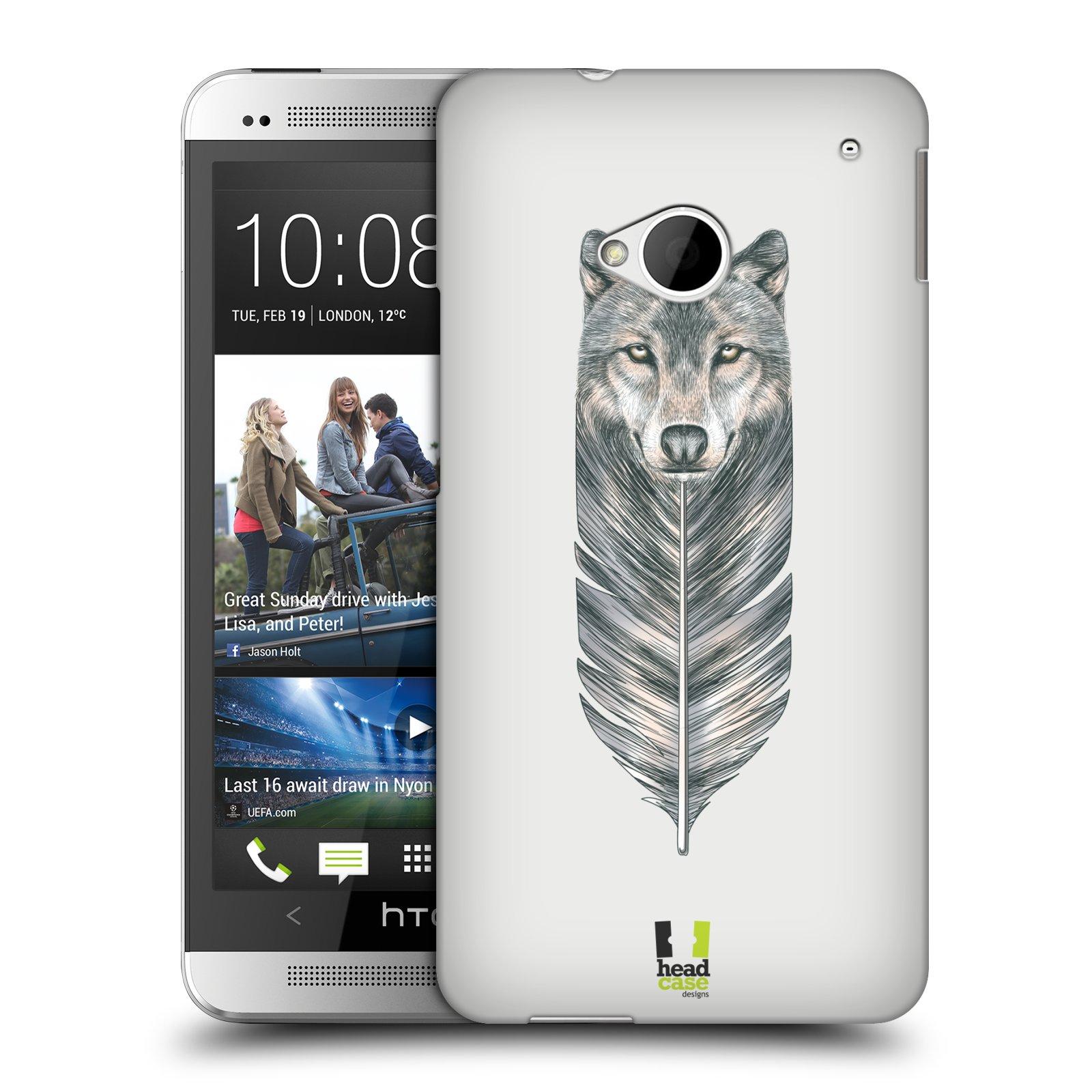 HEAD CASE plastový obal na mobil HTC One (M7) vzor zvířecí pírka vlk