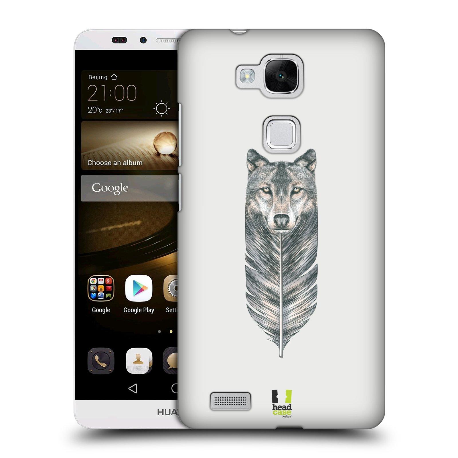 HEAD CASE plastový obal na mobil Huawei Mate 7 vzor zvířecí pírka vlk