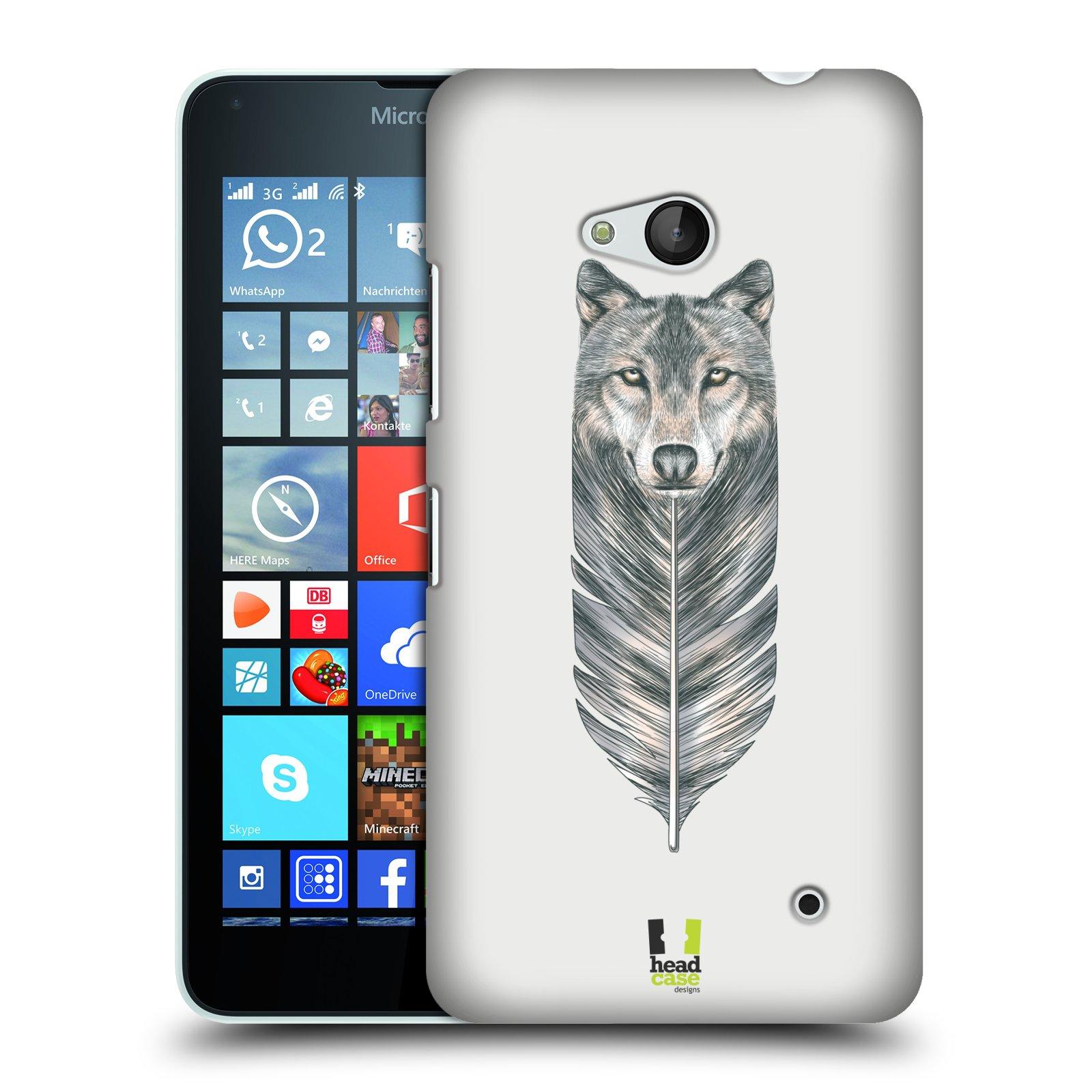 HEAD CASE plastový obal na mobil Nokia Lumia 640 vzor zvířecí pírka vlk