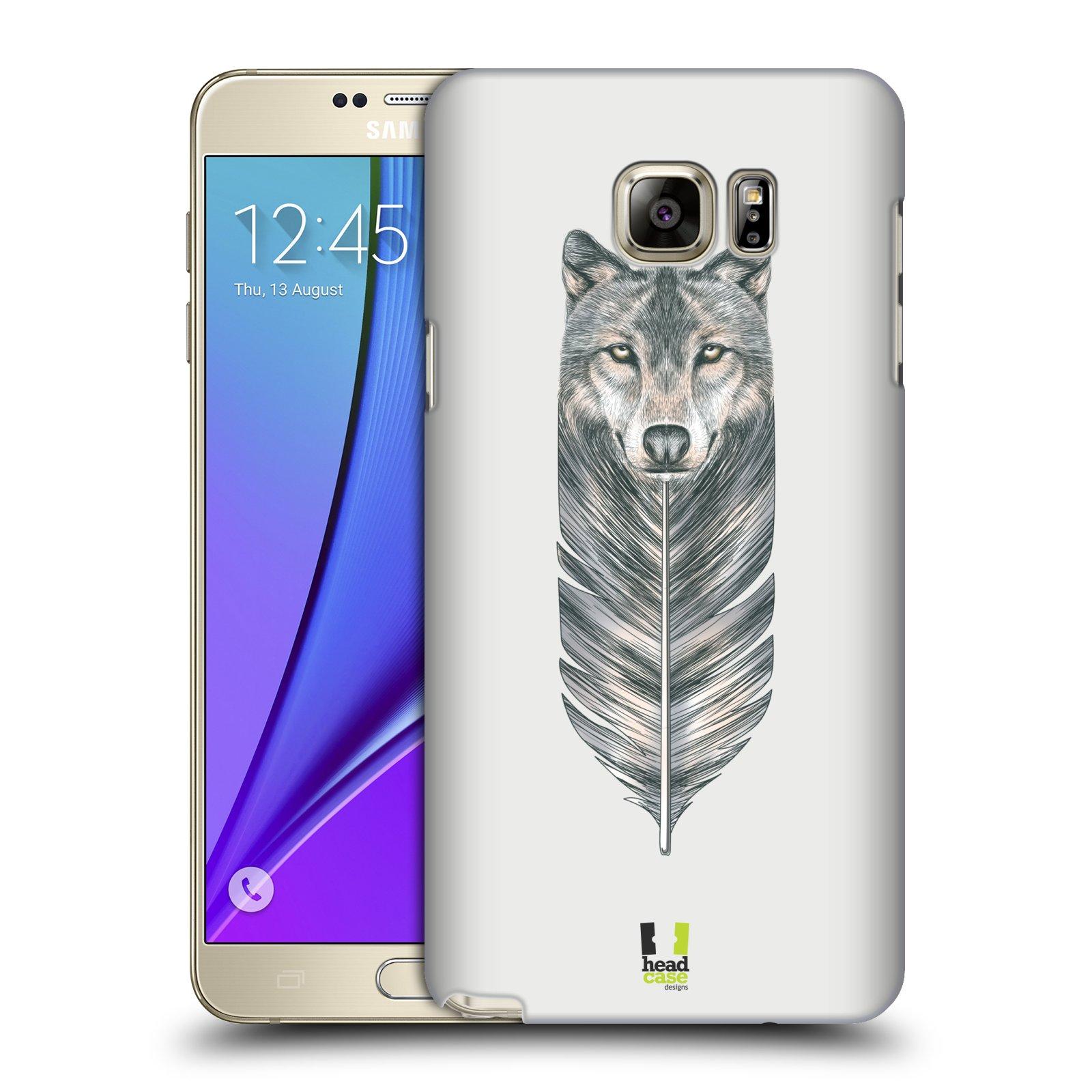 HEAD CASE plastový obal na mobil SAMSUNG Galaxy Note 5 (N920) vzor zvířecí pírka vlk