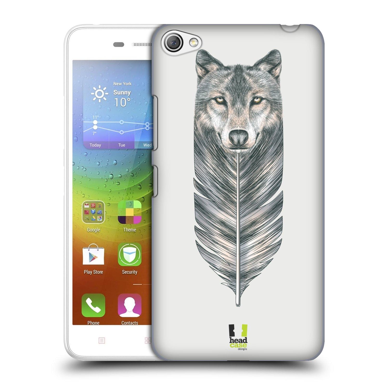 HEAD CASE pevný plastový obal na mobil LENOVO S60 / LENOVO S60 DUAL SIM vzor zvířecí pírka vlk