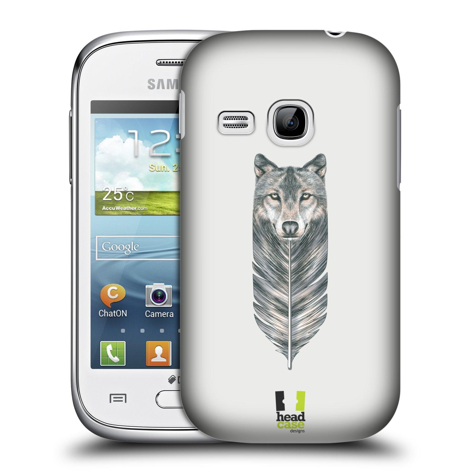 HEAD CASE plastový obal na mobil SAMSUNG Galaxy Young S6310 vzor zvířecí pírka vlk