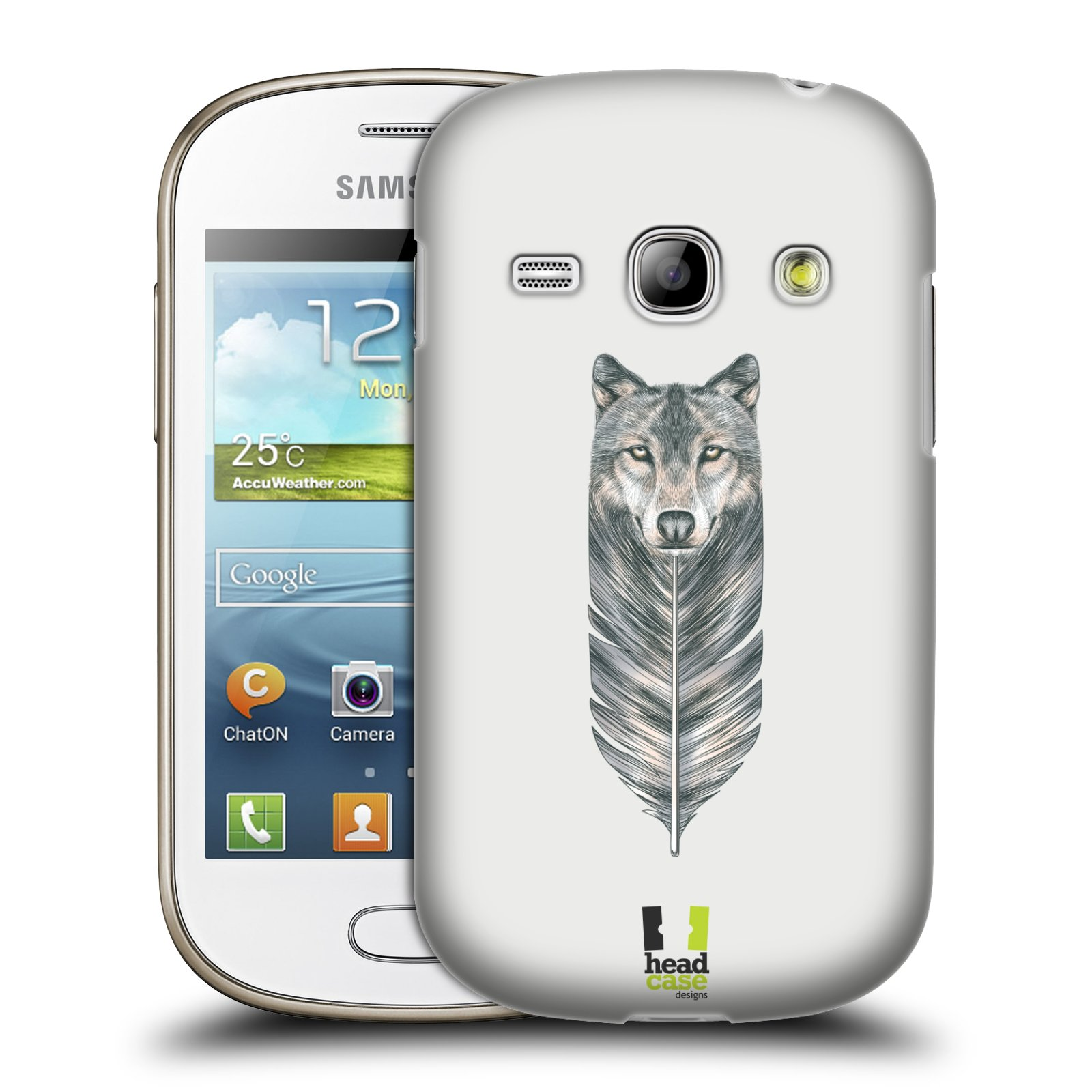 HEAD CASE plastový obal na mobil SAMSUNG GALAXY FAME (S6810) vzor zvířecí pírka vlk