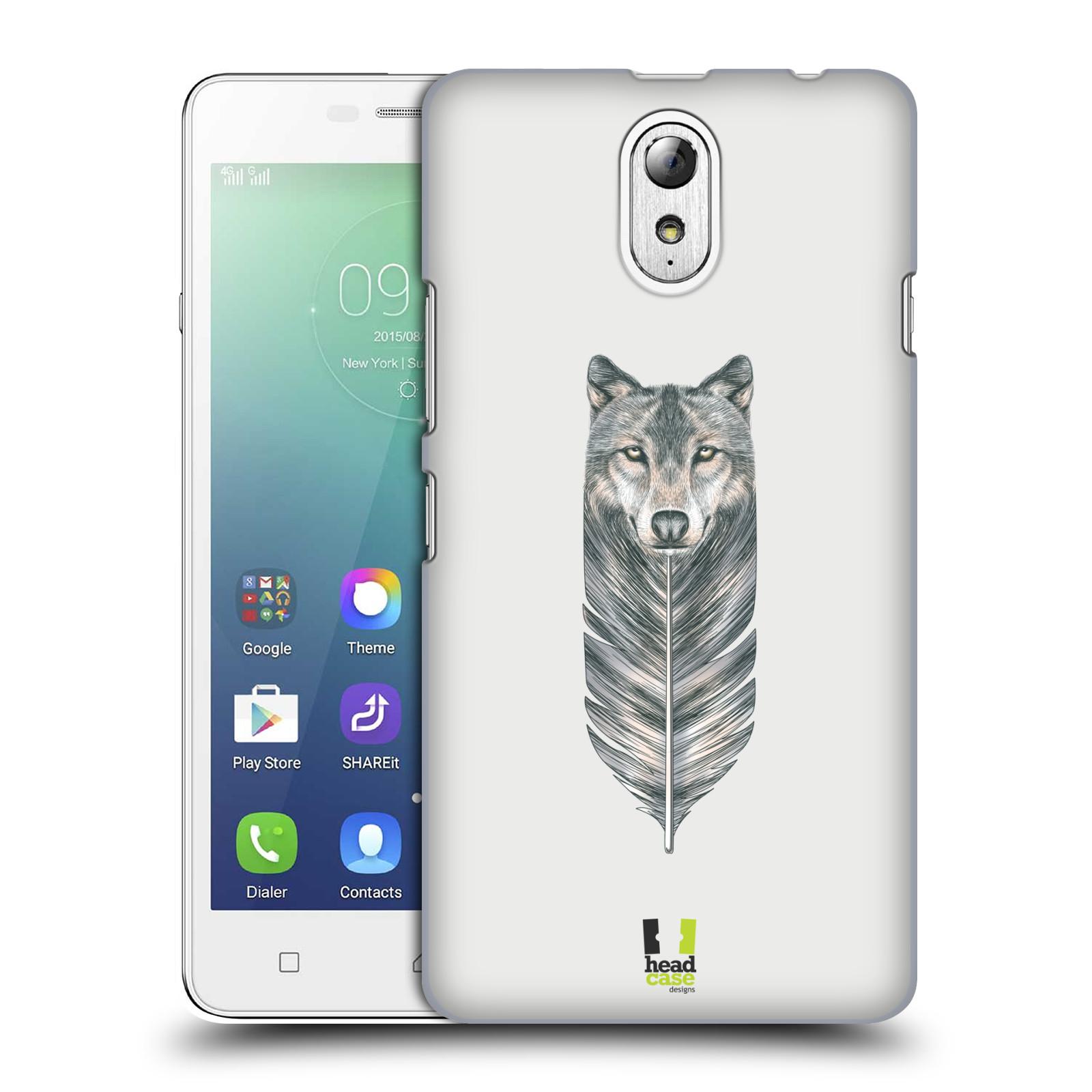 HEAD CASE pevný plastový obal na mobil LENOVO VIBE P1m / LENOVO VIBE p1m DUAL SIM vzor zvířecí pírka vlk