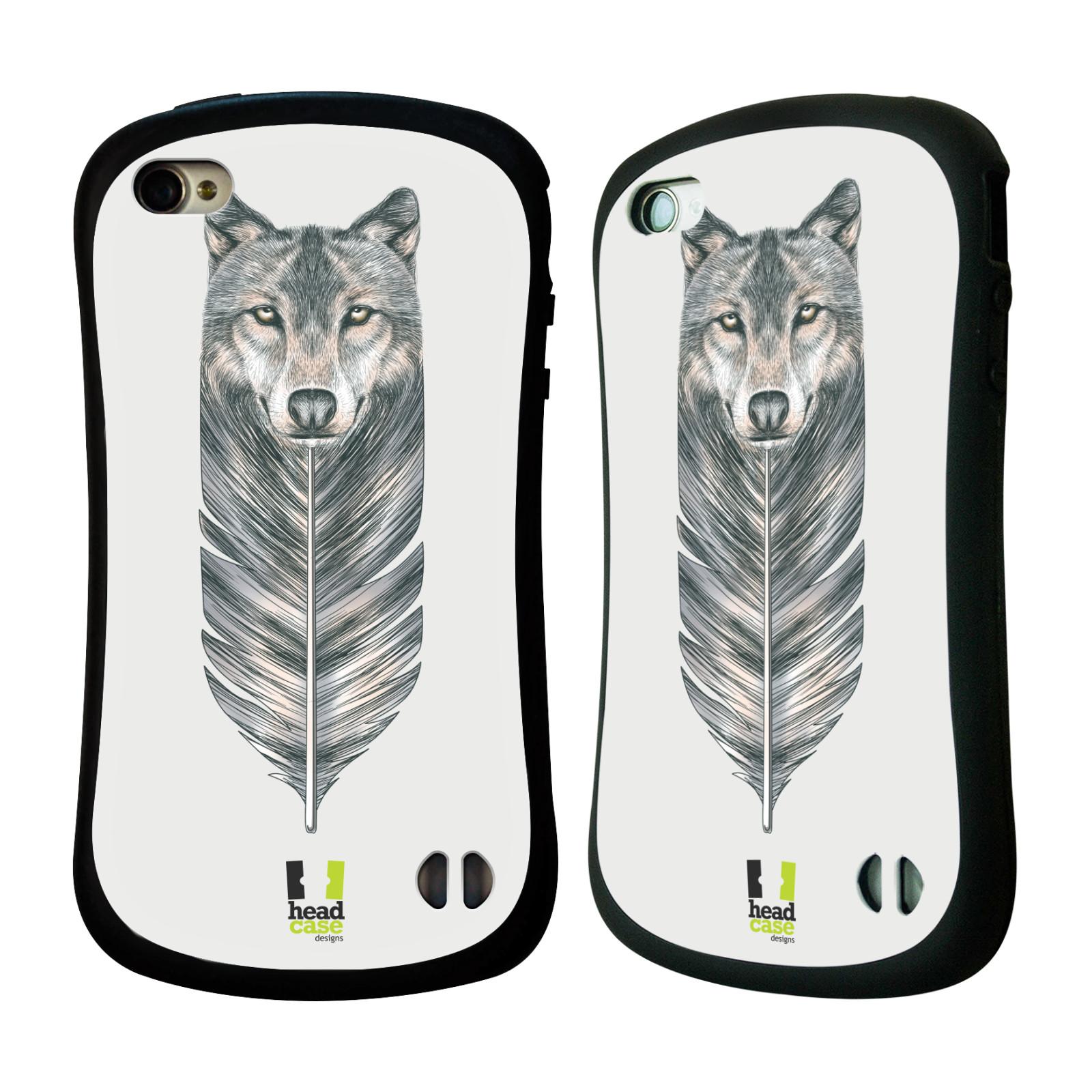 HEAD CASE silikon/plast odolný obal na mobil Apple Iphone 4/4S vzor zvířecí pírka vlk