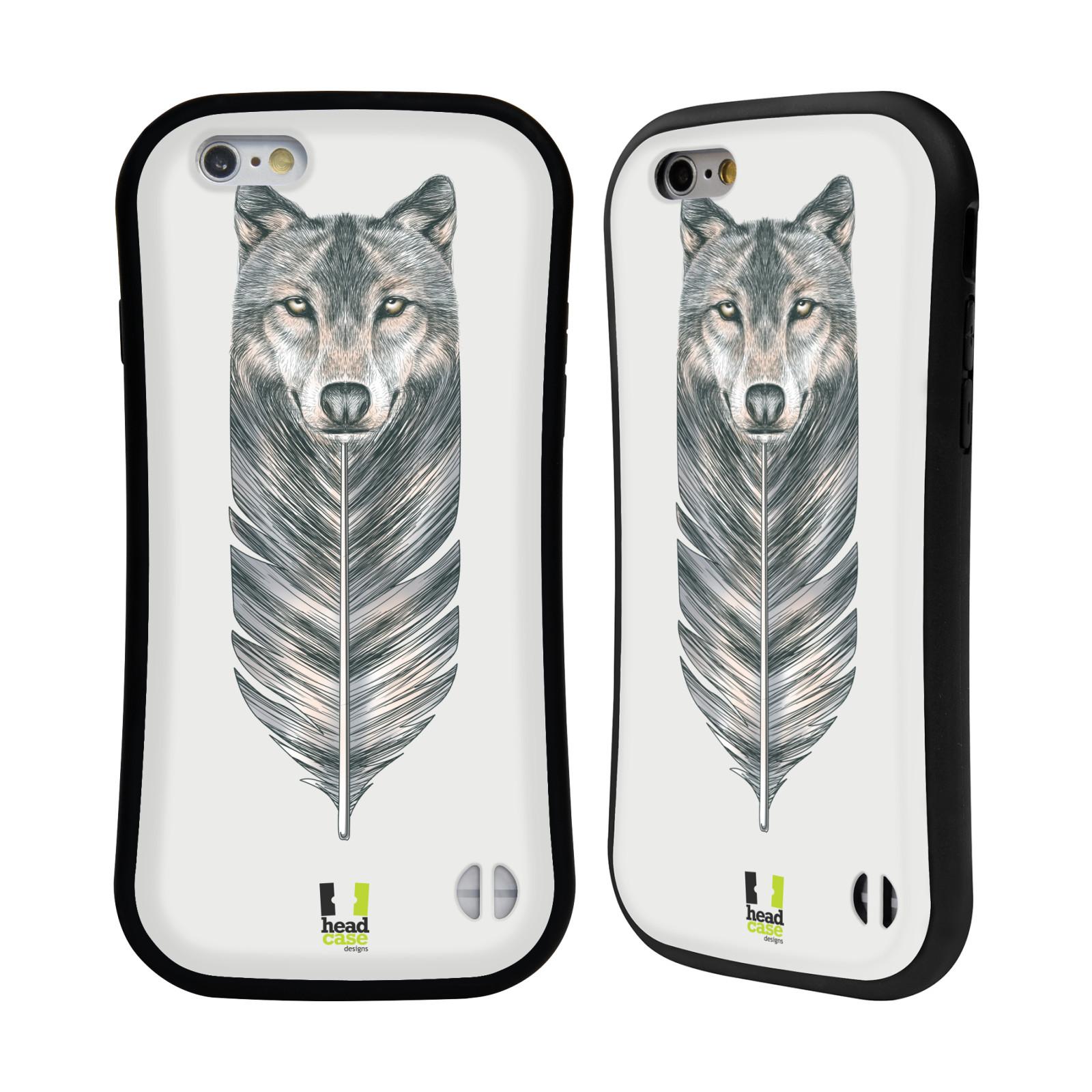 HEAD CASE silikon plast odolný obal na mobil Apple Iphone 6 6S vzor zvířecí pírka  vlk 1e077456e2e