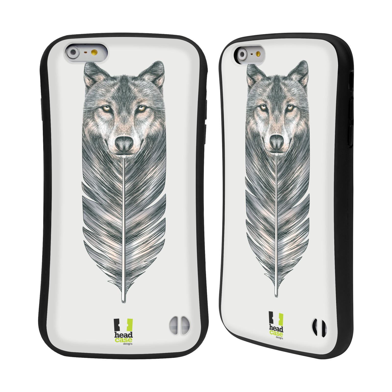 HEAD CASE silikon/plast odolný obal na mobil Apple Iphone 6 PLUS / 6S PLUS vzor zvířecí pírka vlk