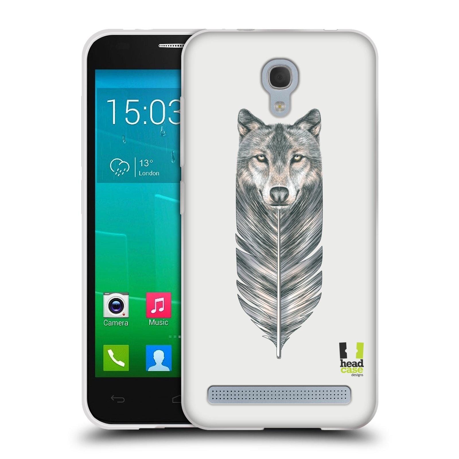 HEAD CASE silikonový obal na mobil Alcatel Idol 2 MINI S 6036Y vzor zvířecí pírka vlk