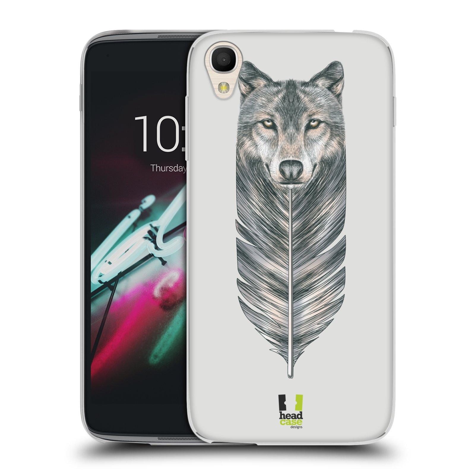 HEAD CASE silikonový obal na mobil Alcatel Idol 3 OT-6039Y (4.7) vzor zvířecí pírka vlk