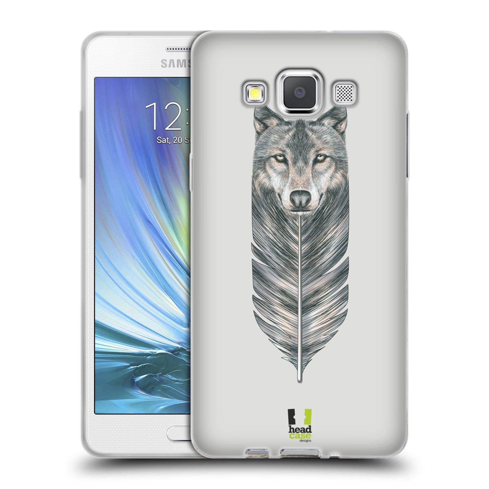 HEAD CASE silikonový obal na mobil Samsung Galaxy A5 vzor zvířecí pírka vlk