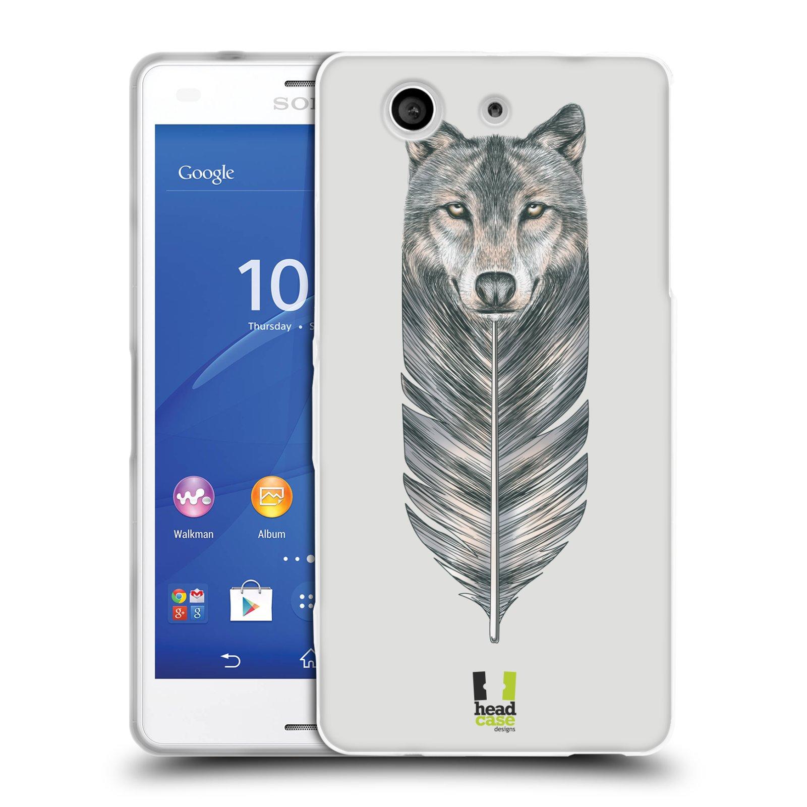 HEAD CASE silikonový obal na mobil Sony Xperia Z3 COMPACT (D5803) vzor zvířecí pírka vlk