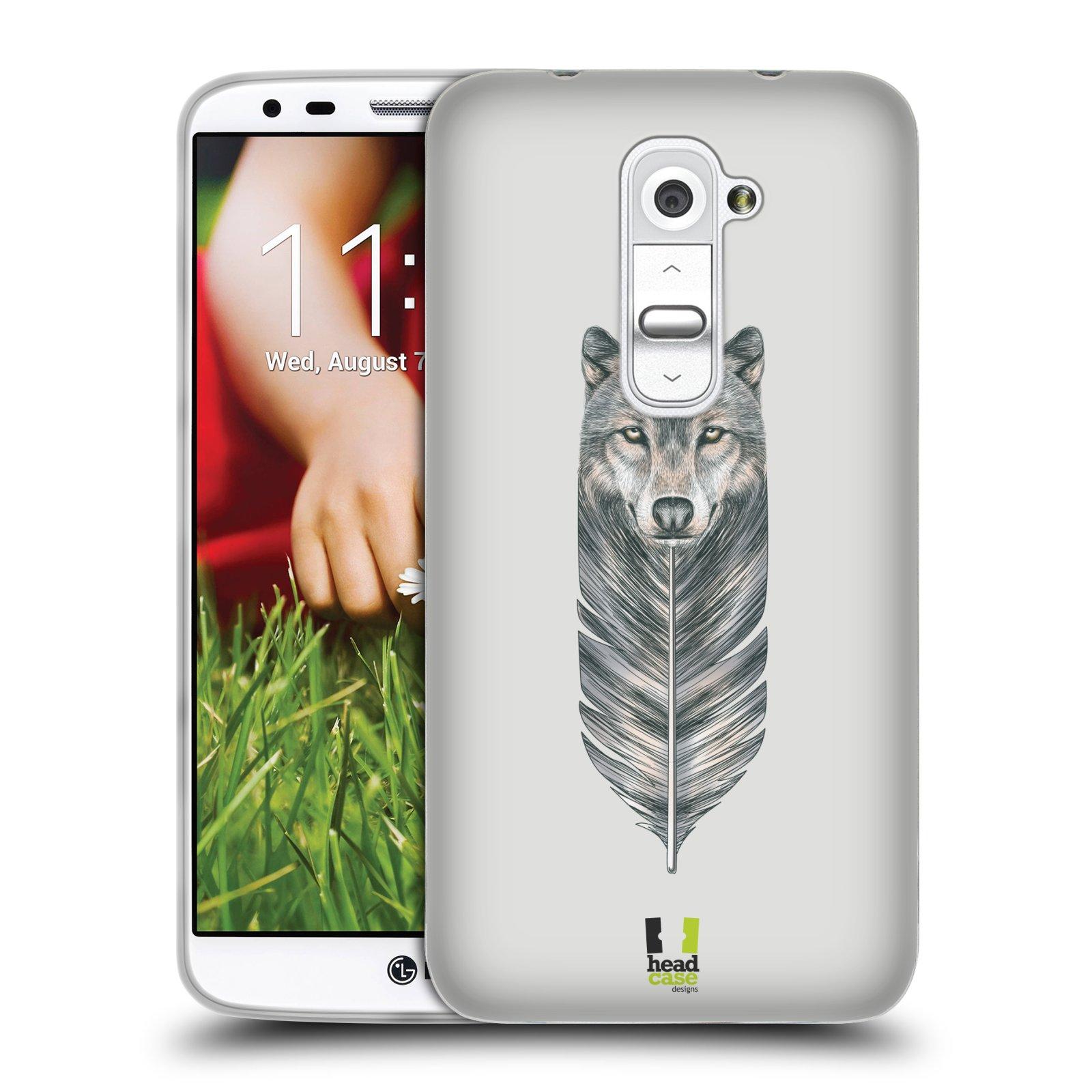 HEAD CASE silikonový obal na mobil LG G2 vzor zvířecí pírka vlk